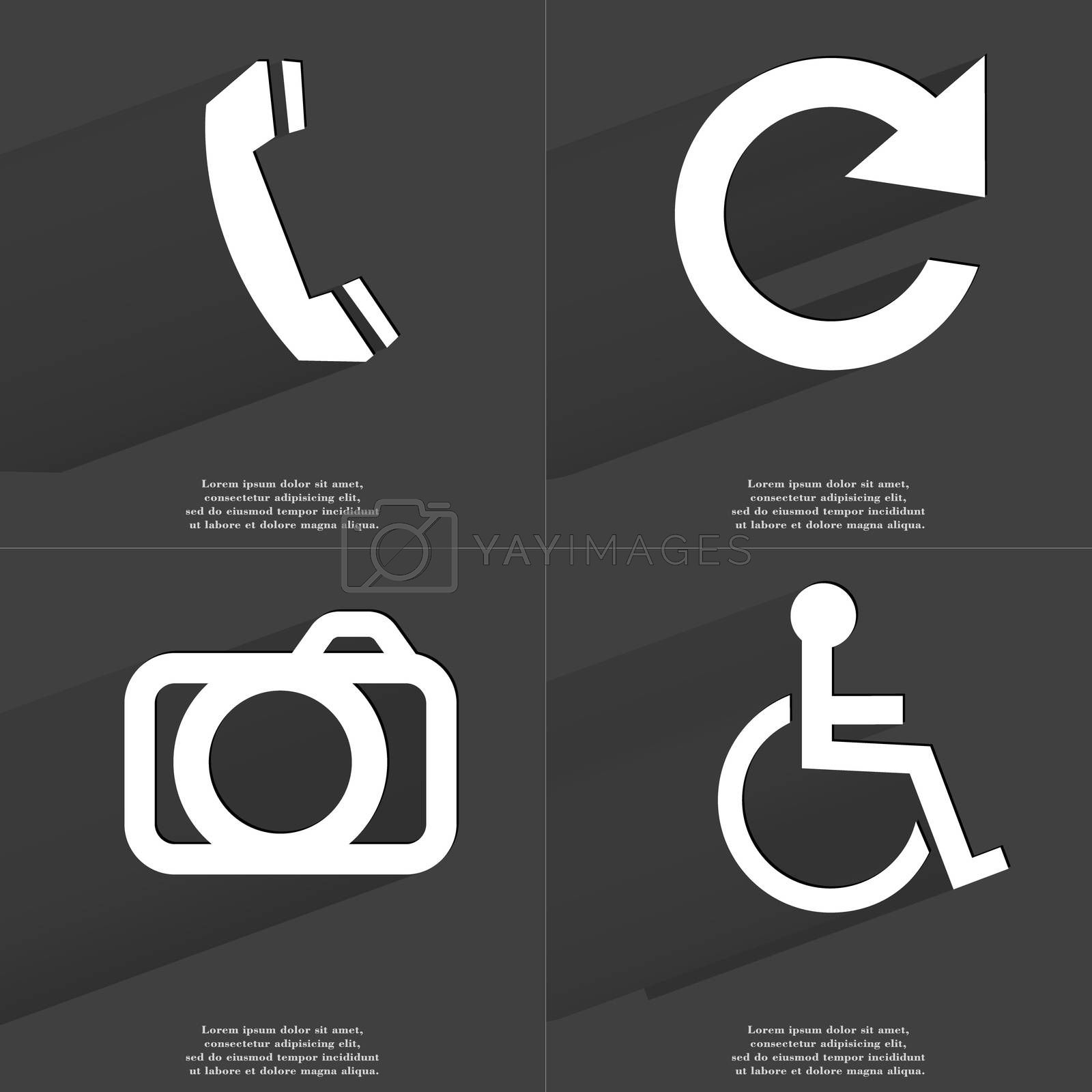 Royalty free image of Receiver, Reload icon, Camera, Disabled person. Symbols with long shadow. Flat design by serhii_lohvyniuk