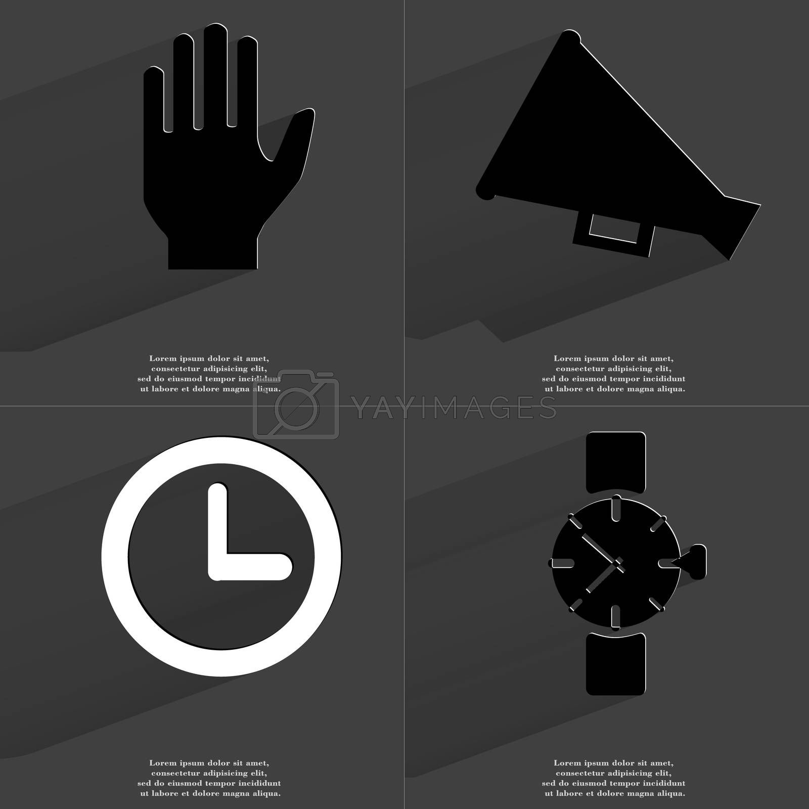 Royalty free image of Hand, Megaphone, Clock, Wrist watch. Symbols with long shadow. Flat design by serhii_lohvyniuk