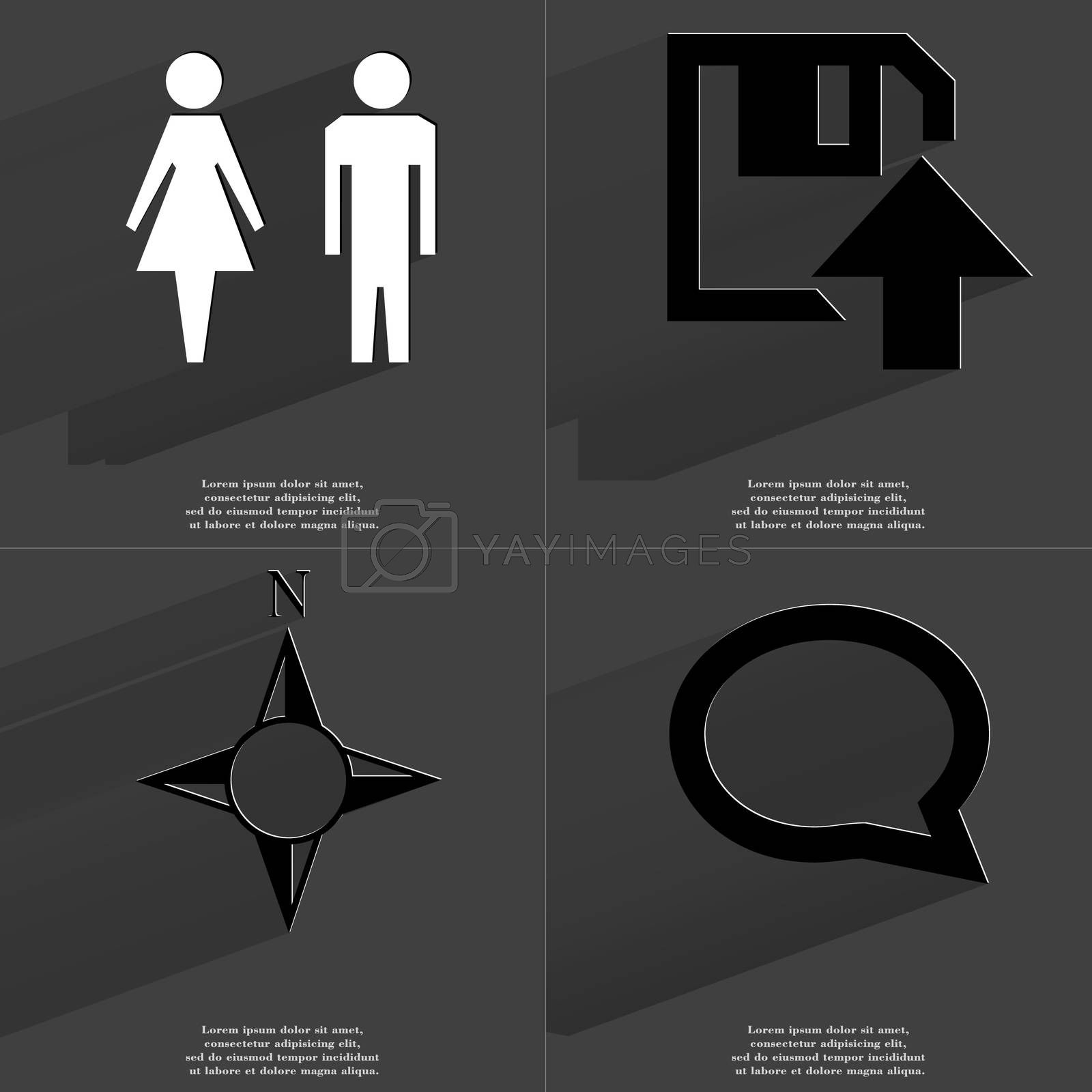 Silhouettes of man and woman, Floppy disk upload icon, Compass, Chat bubble. Symbols with long shadow. Flat design by serhii_lohvyniuk