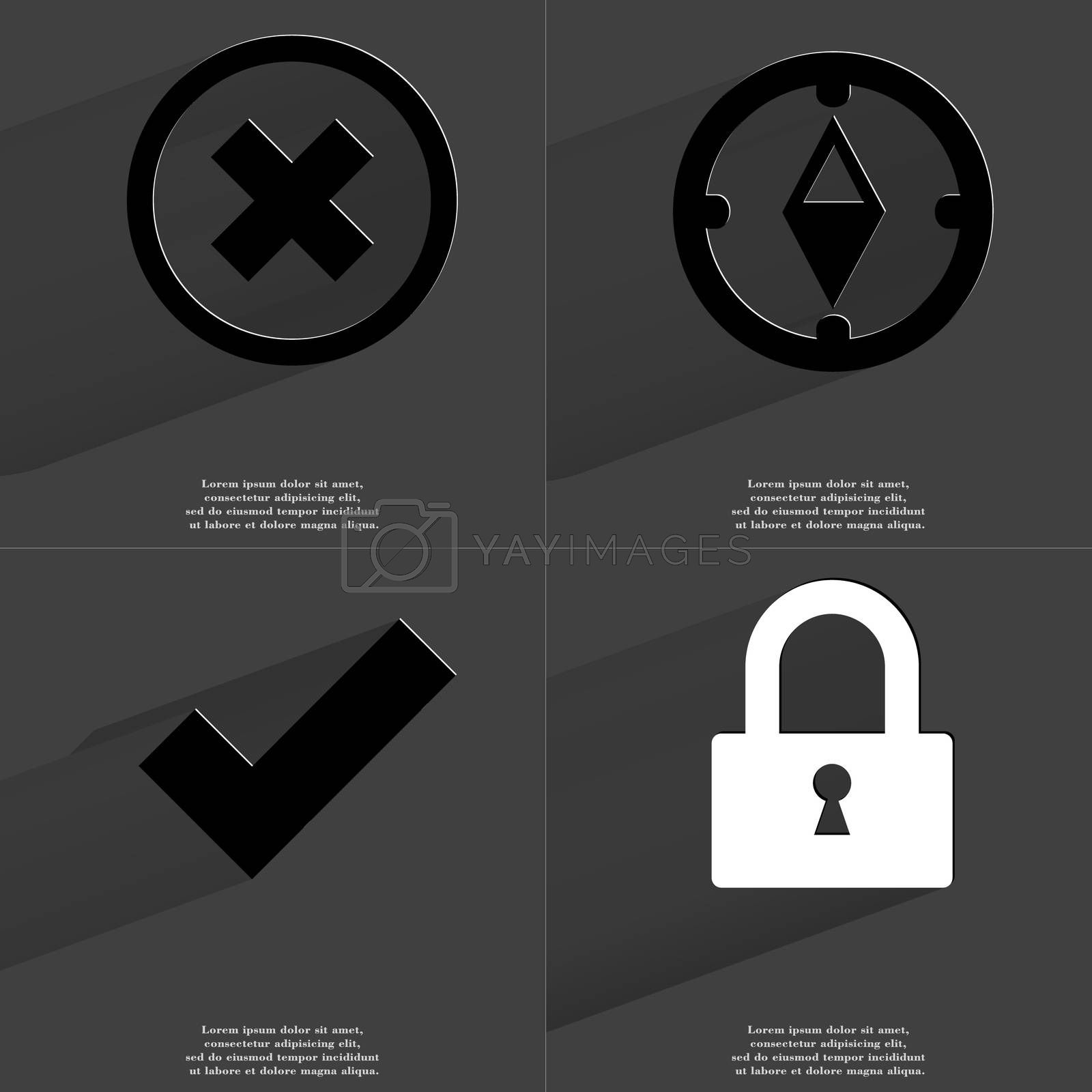 Royalty free image of Stop, Compass, Tick sign, Lock. Symbols with long shadow. Flat design by serhii_lohvyniuk