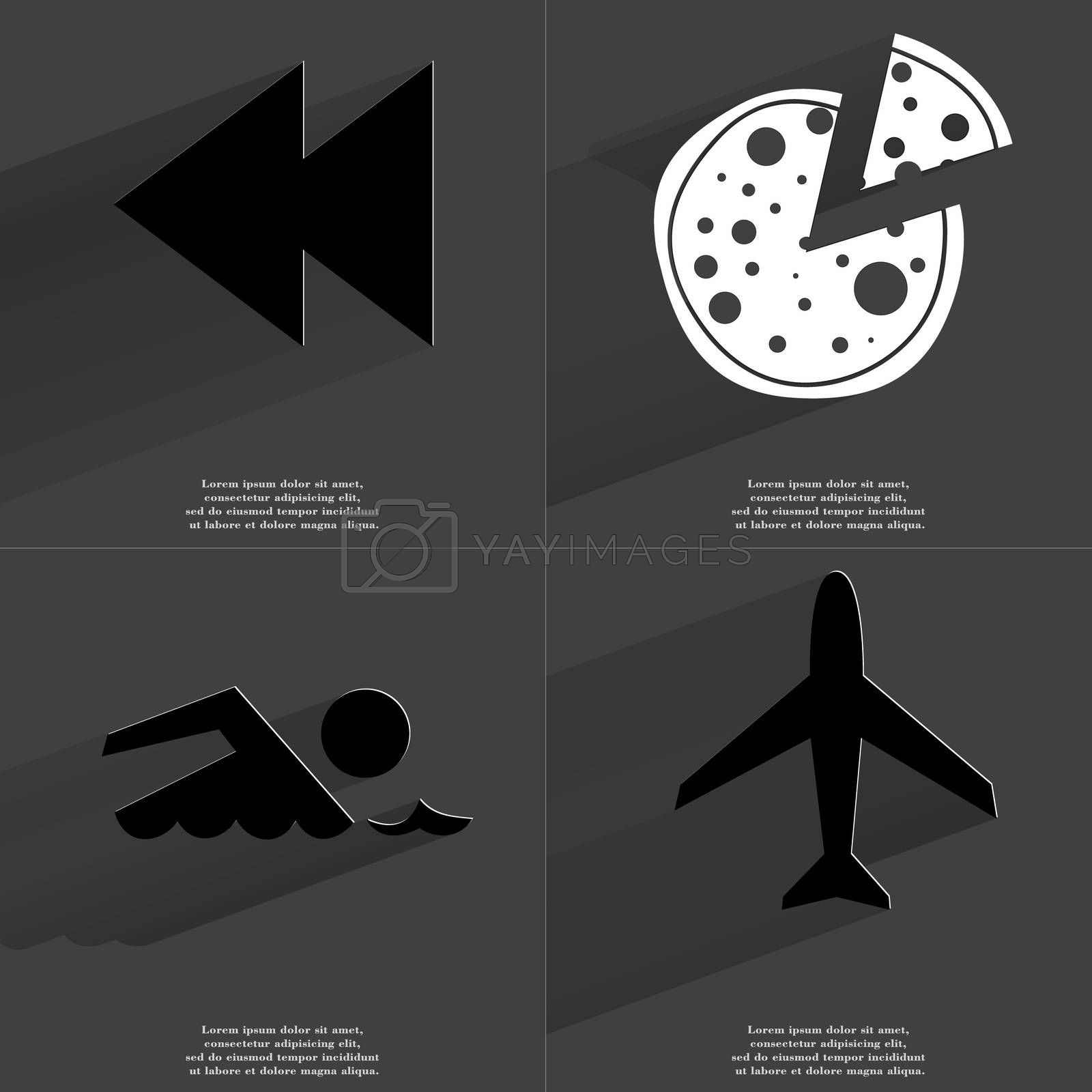 Royalty free image of Two arrows media icon, Pizza, Silhouette of swimmer, Airplane. Symbols with long shadow. Flat design by serhii_lohvyniuk