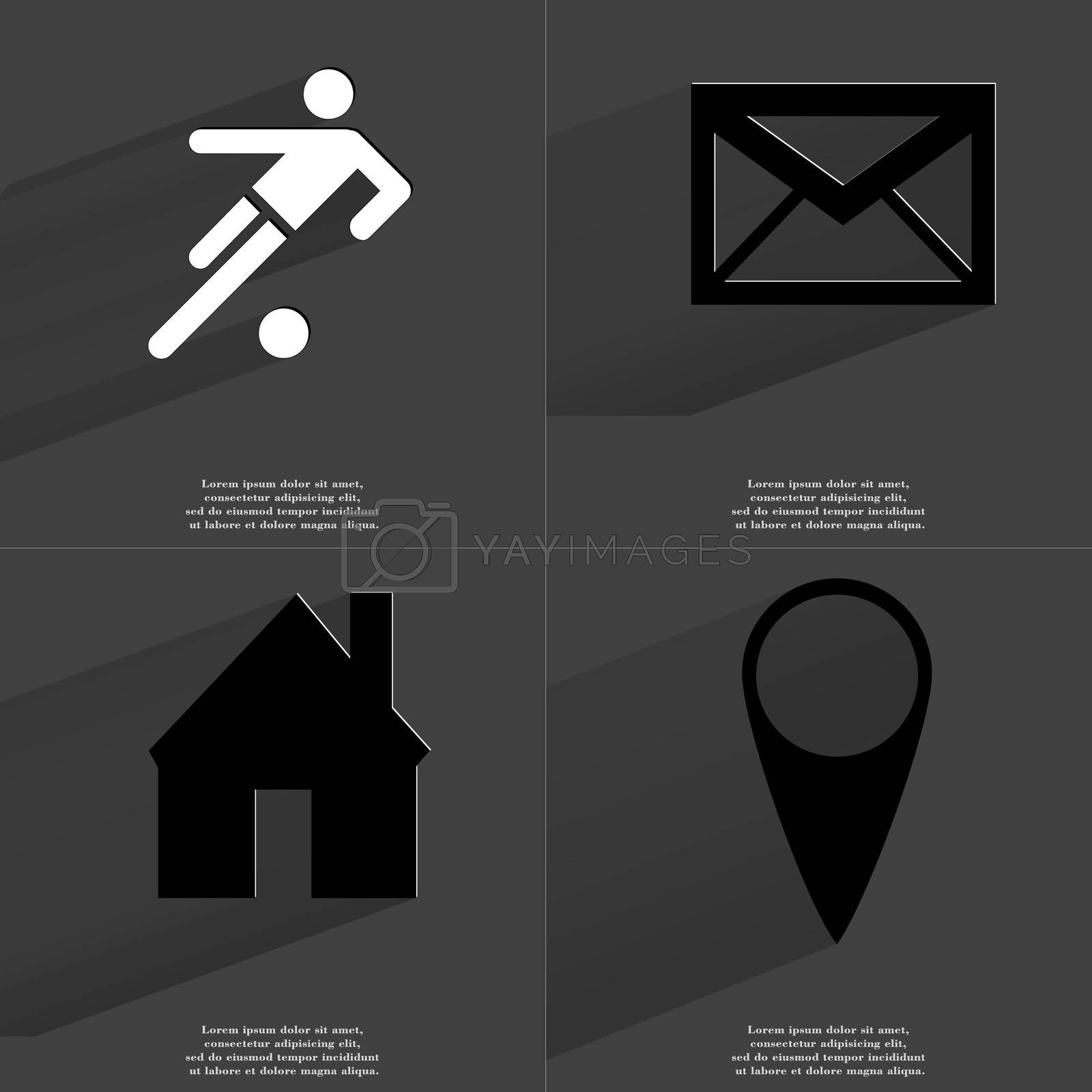 Royalty free image of Silhouette of football player, Message, House, Checkpoint. Symbols with long shadow. Flat design by serhii_lohvyniuk