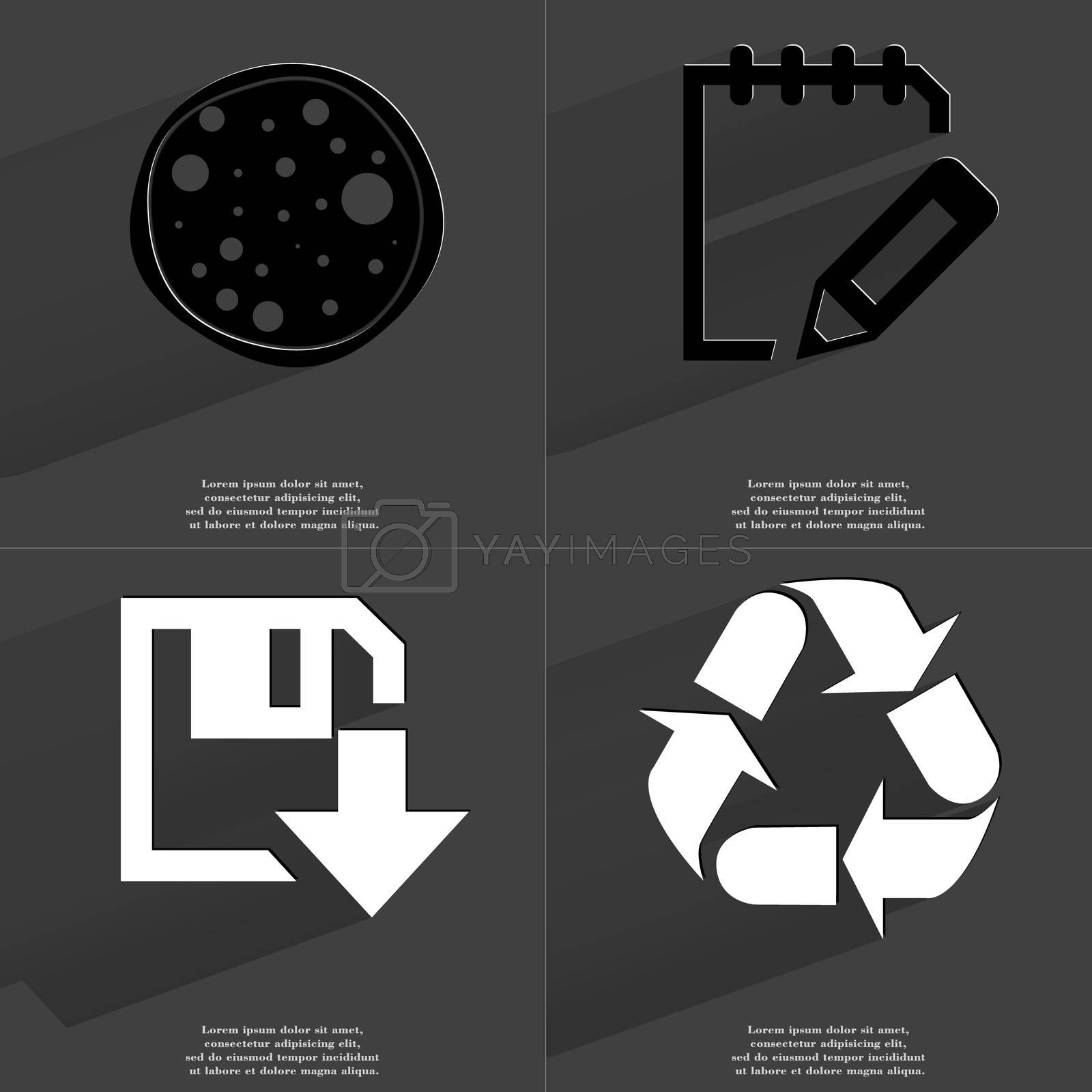 Pizza, Notebook, Floppy disk download icon, Recycling. Symbols with long shadow. Flat design by serhii_lohvyniuk