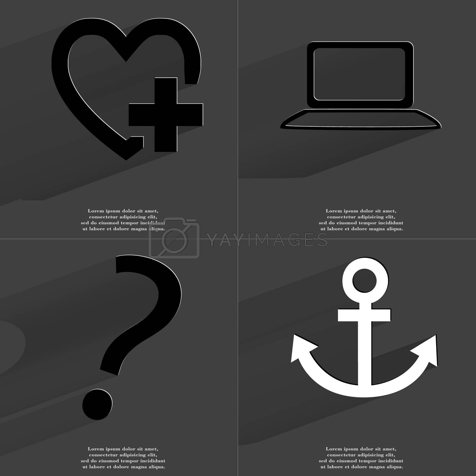 Royalty free image of Heart plus sign, Laptop, Question mark, Anchor. Symbols with long shadow. Flat design by serhii_lohvyniuk