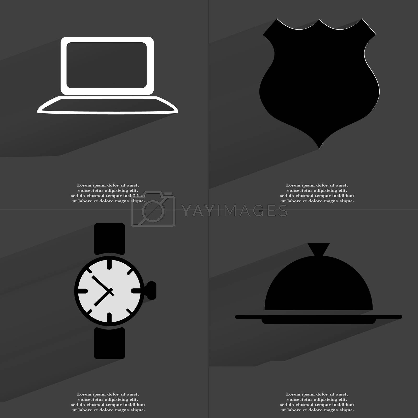 Laptop, Police badge, Wrist watch, Tray. Symbols with long shadow. Flat design by serhii_lohvyniuk