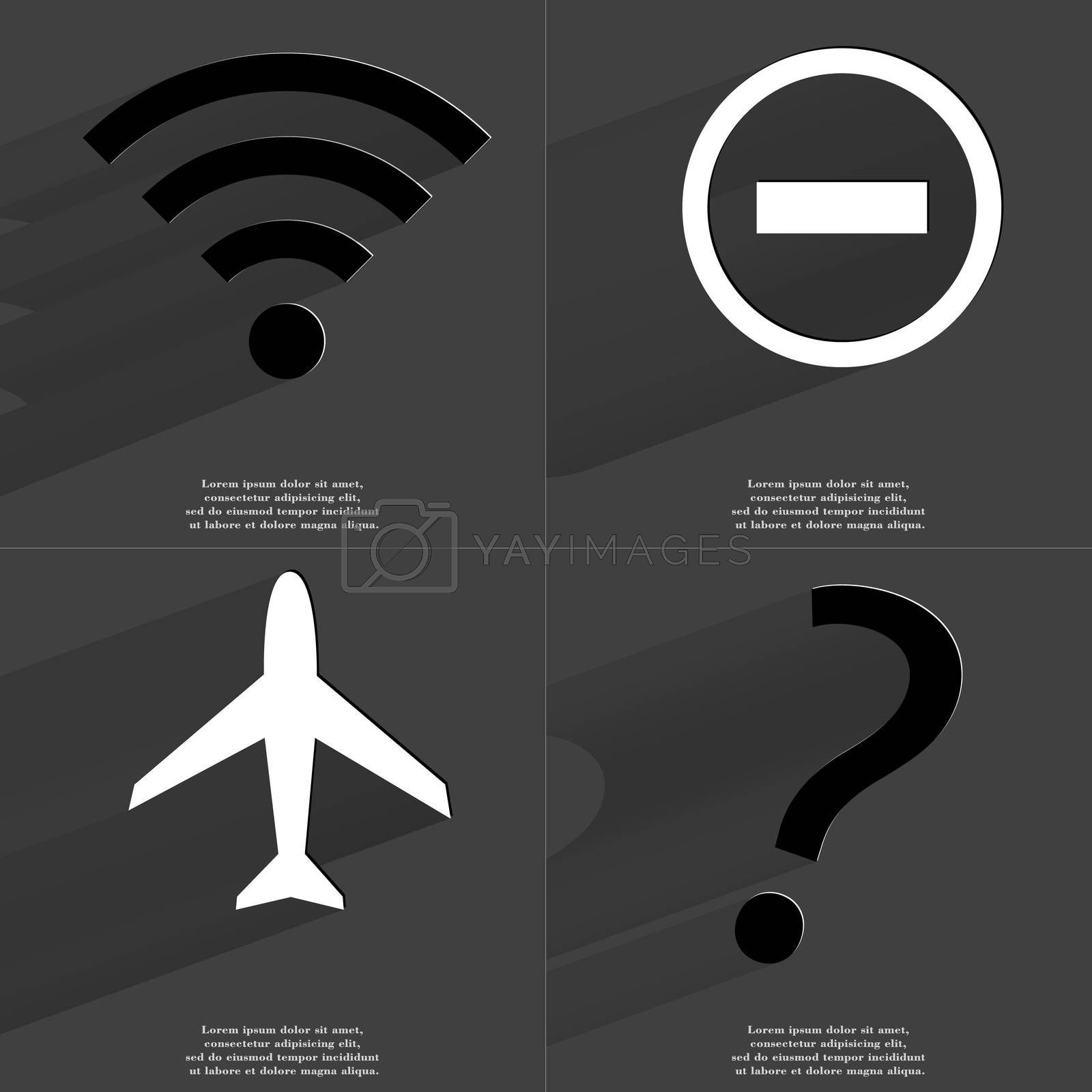 Royalty free image of WLAN icon, Minus sign, Airplane, Question mark. Symbols with long shadow. Flat design by serhii_lohvyniuk