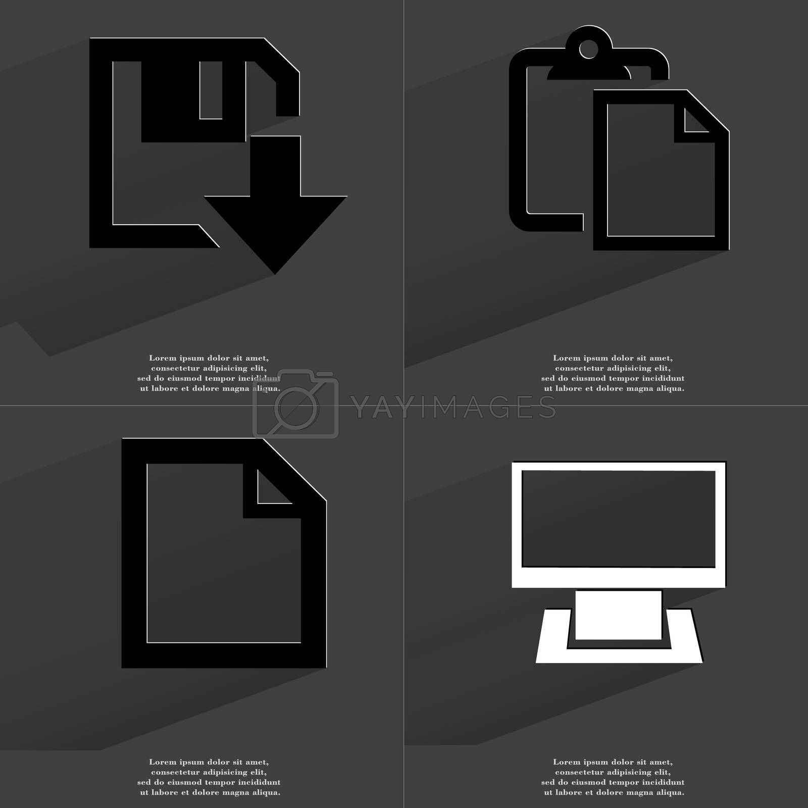 Royalty free image of Floppy disk download icon, Tasklist, File, Monitor. Symbols with long shadow. Flat design by serhii_lohvyniuk