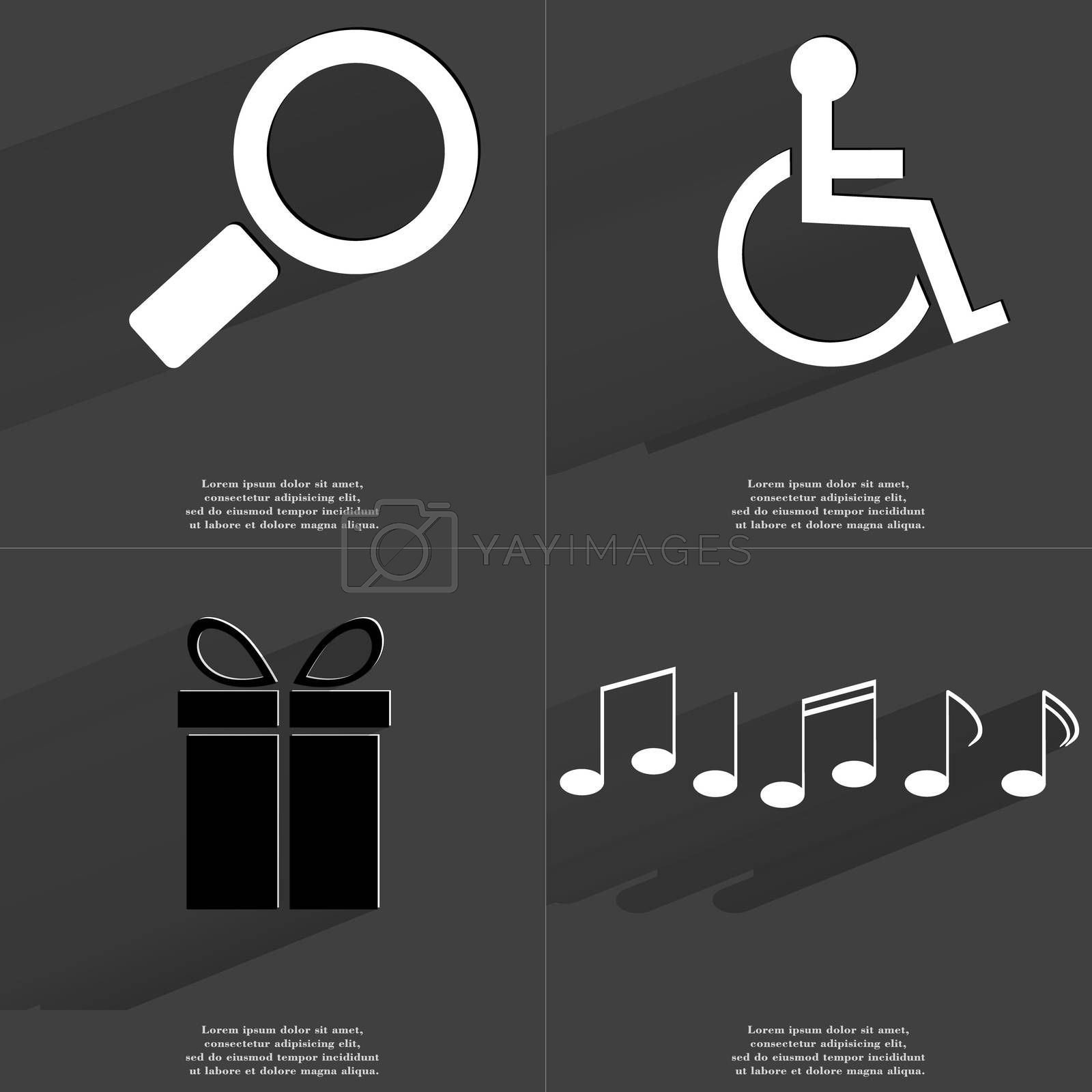 Royalty free image of Magnifying glass, Disabled person, Gift, Notes. Symbols with long shadow. Flat design by serhii_lohvyniuk