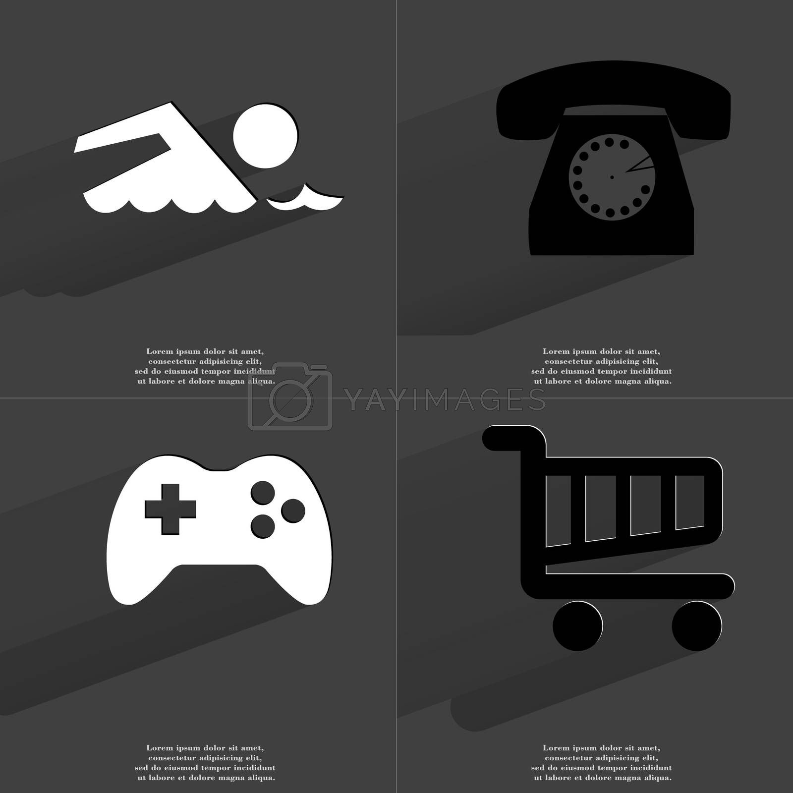 Silhouette of swimmer, Retro phone, Gamepad, Shopping cart. Symbols with long shadow. Flat design by serhii_lohvyniuk