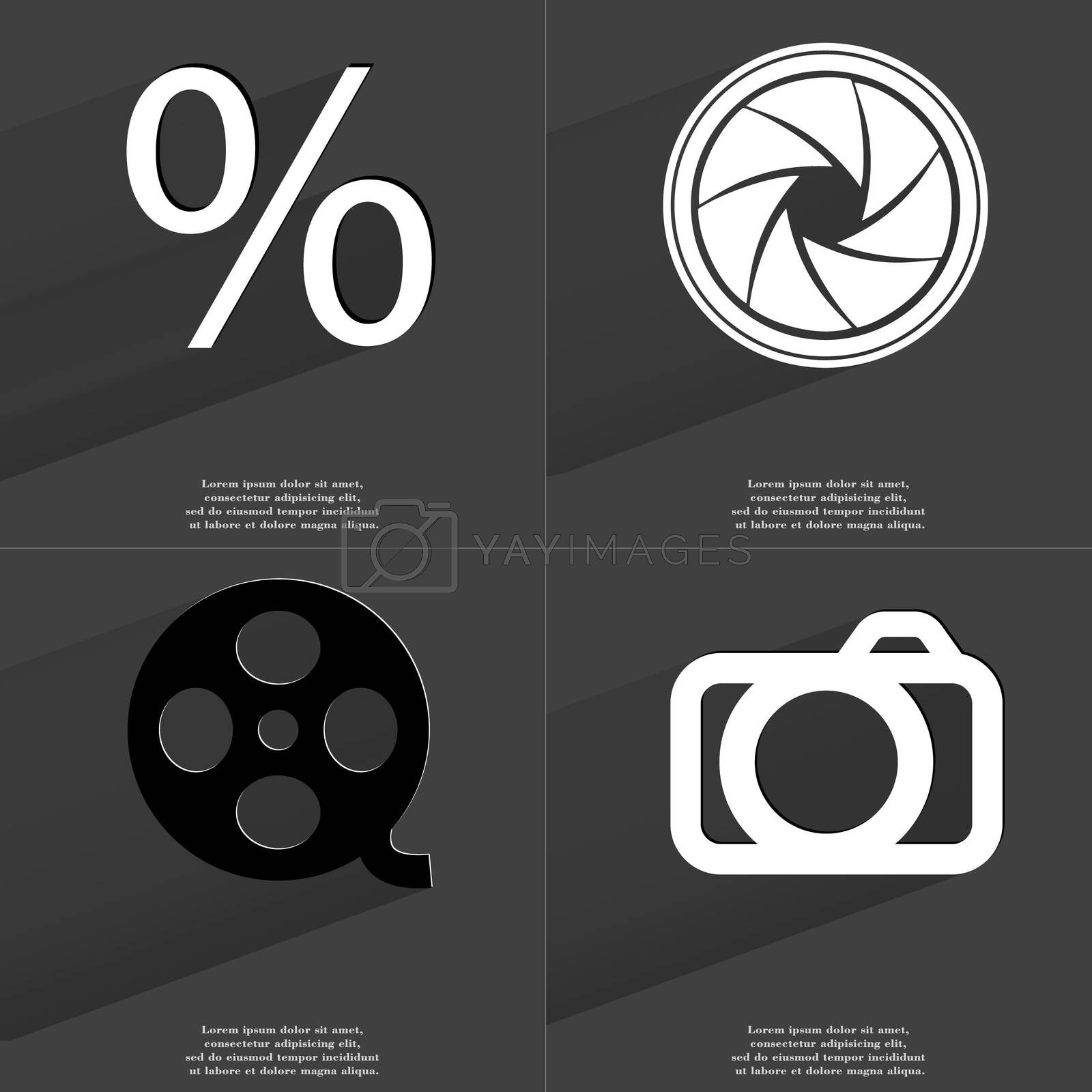 Royalty free image of Percent sign, Lens, Videotape, Camera. Symbols with long shadow. Flat design by serhii_lohvyniuk