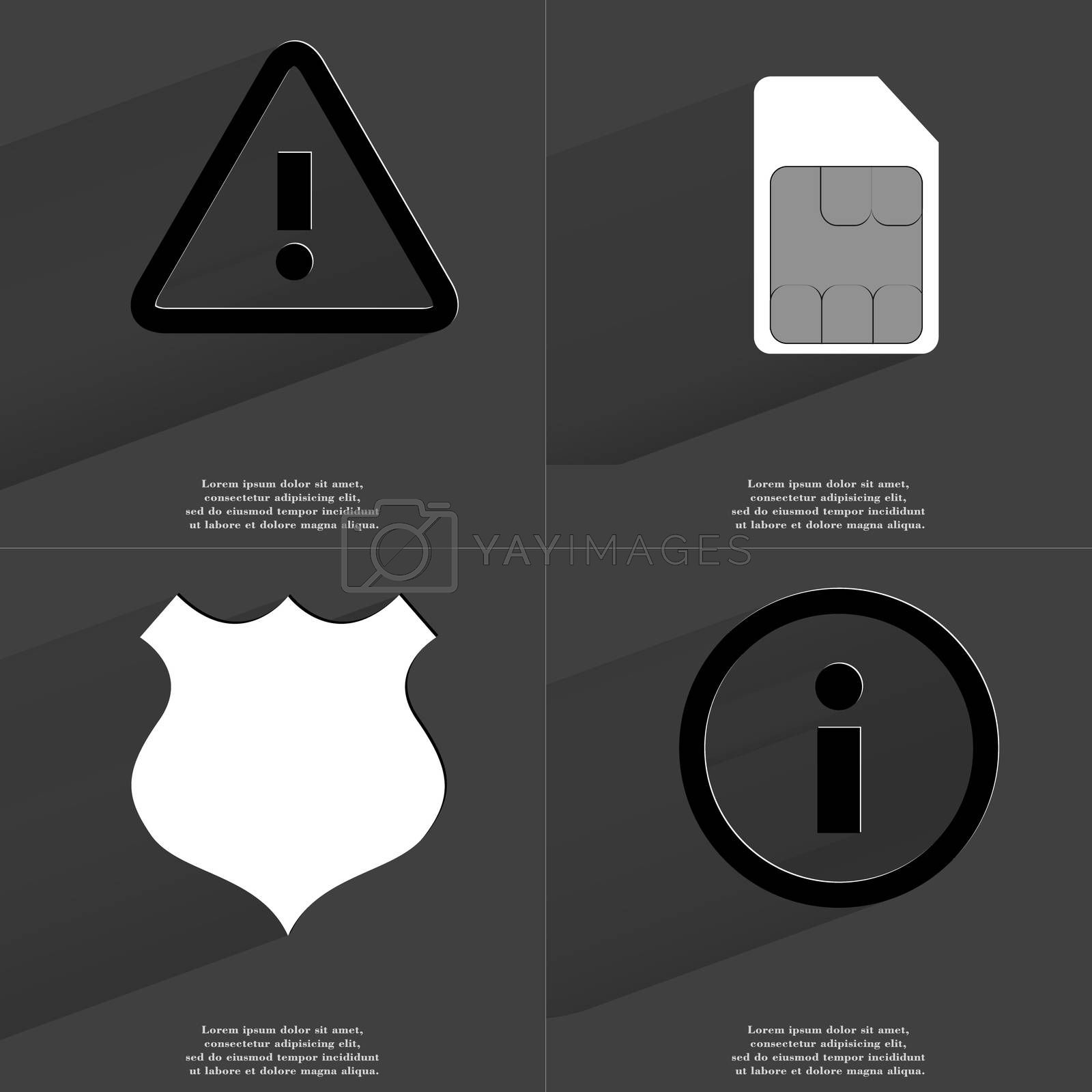 Royalty free image of Warning sign, SIM card, Police badge, Information sign. Symbols with long shadow. Flat design by serhii_lohvyniuk
