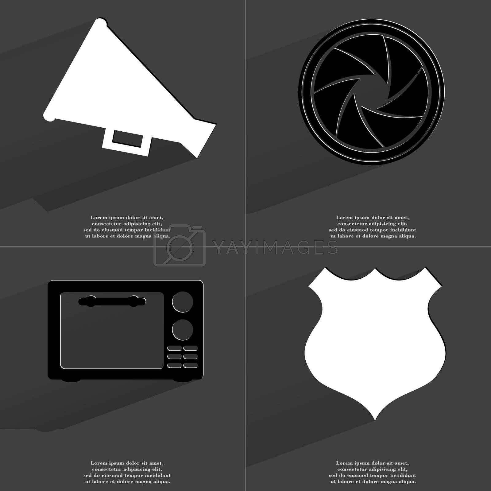 Royalty free image of Megaphone, Lens, Microwave, Police badge. Symbols with long shadow. Flat design by serhii_lohvyniuk