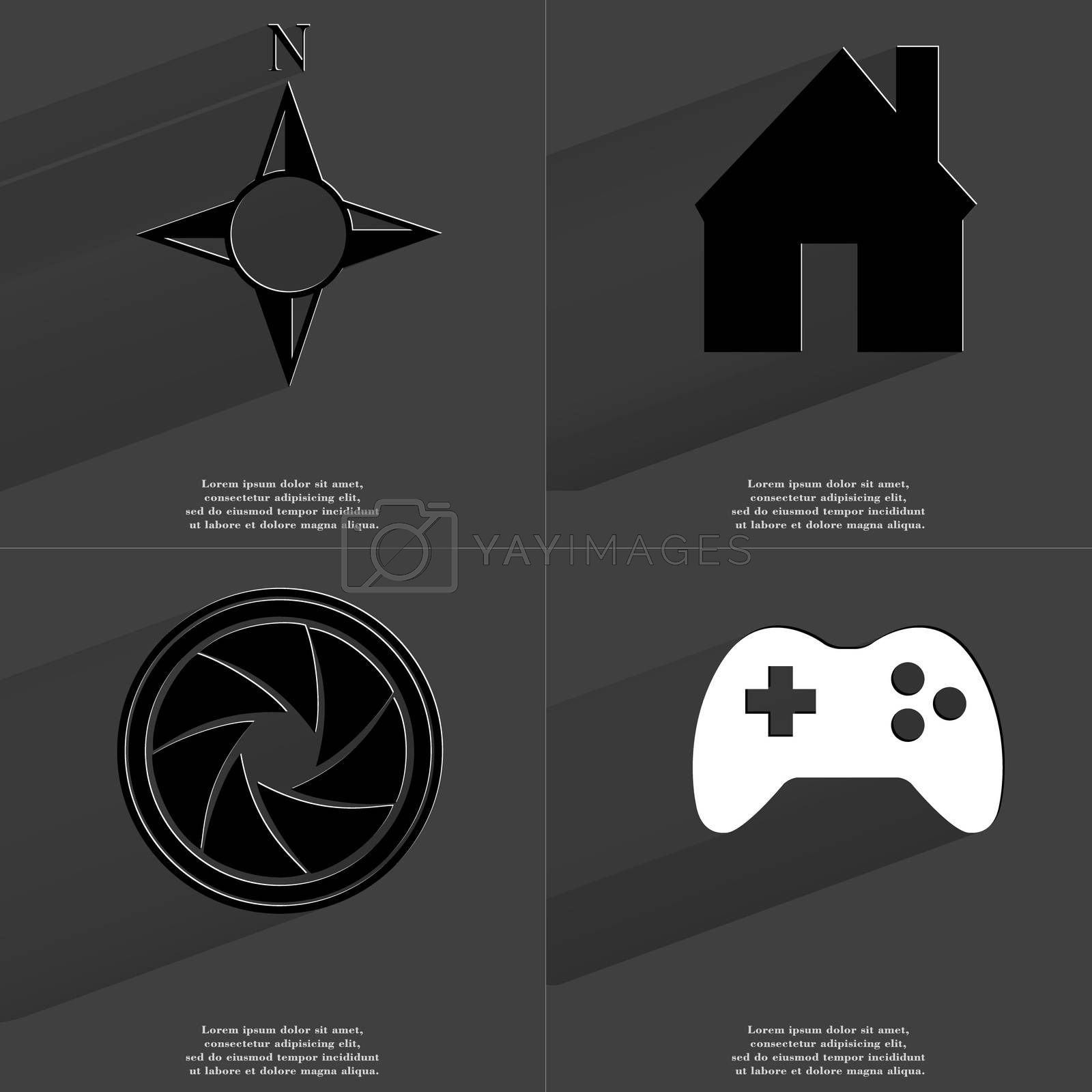 Royalty free image of Compass, House, Lens, Gamepad. Symbols with long shadow. Flat design by serhii_lohvyniuk