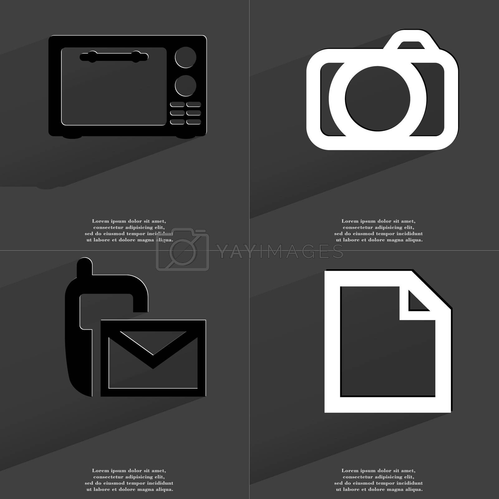Royalty free image of Microwave, Camera, SMS icon, File icon. Symbols with long shadow. Flat design by serhii_lohvyniuk