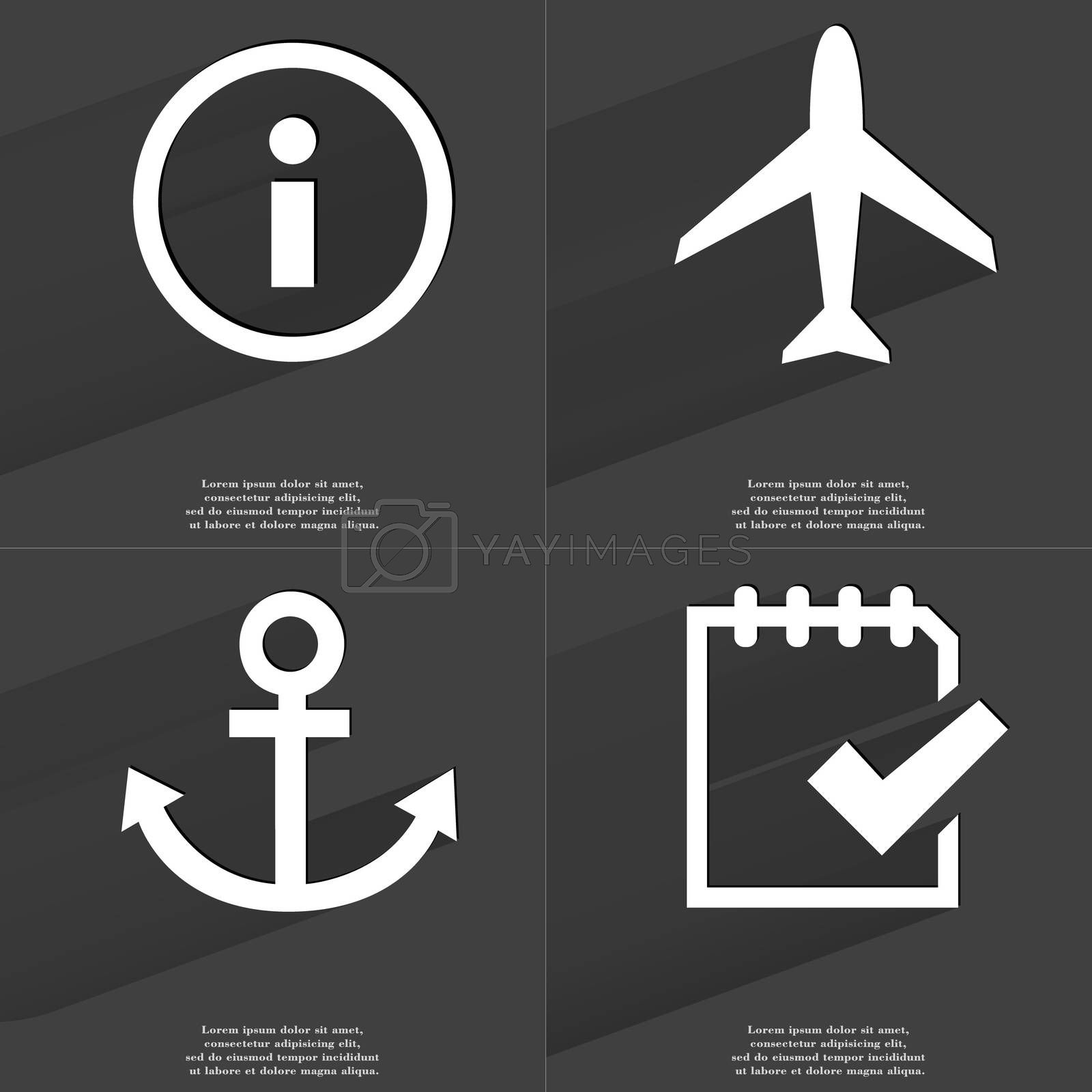 Royalty free image of Information sign, Airplane, Anchor, Task completed icon. Symbols with long shadow. Flat design by serhii_lohvyniuk