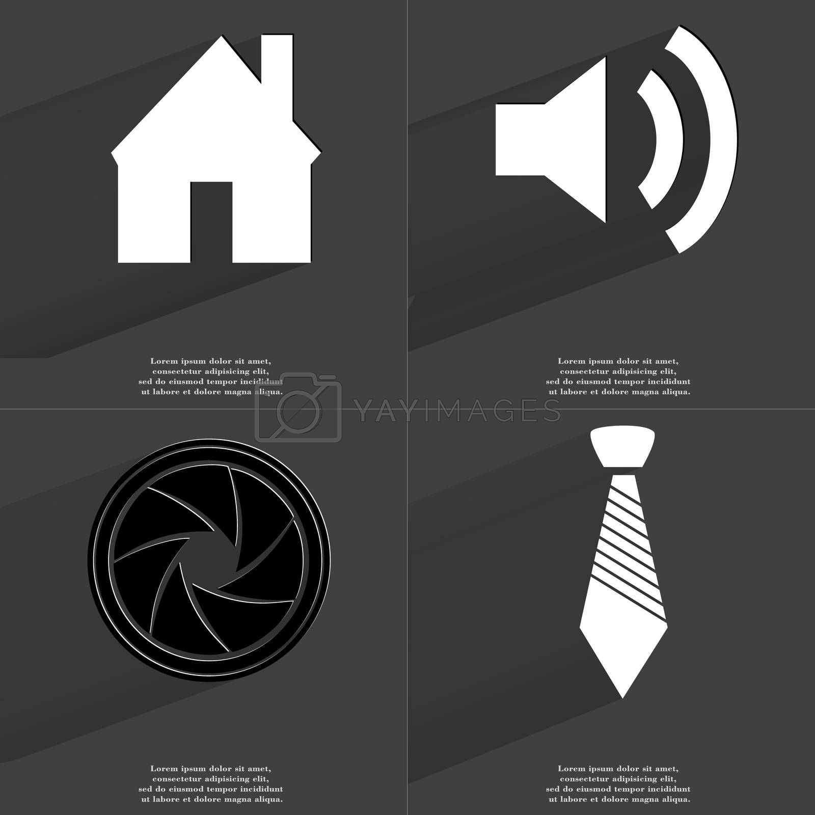 Royalty free image of House, Sound icon, Lens, Tie. Symbols with long shadow. Flat design by serhii_lohvyniuk