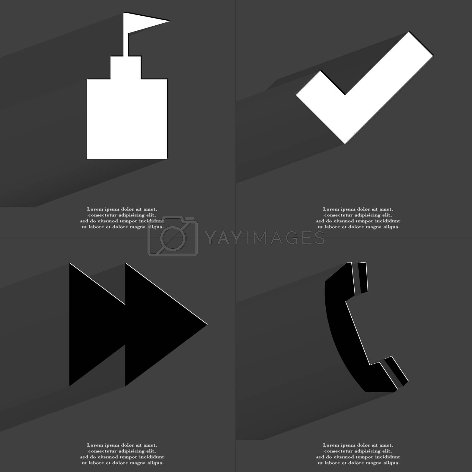 Royalty free image of Flag tower, Tick sign, Two arrows media icon, Receiver. Symbols with long shadow. Flat design by serhii_lohvyniuk