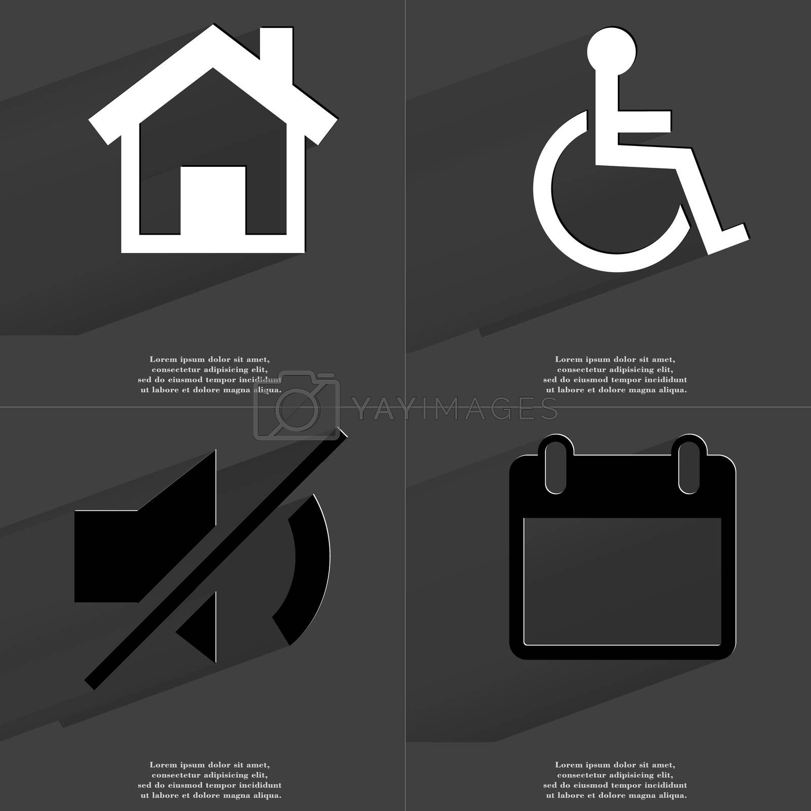 House, Disabled person, Mute icon, Calendar. Symbols with long shadow. Flat design by serhii_lohvyniuk