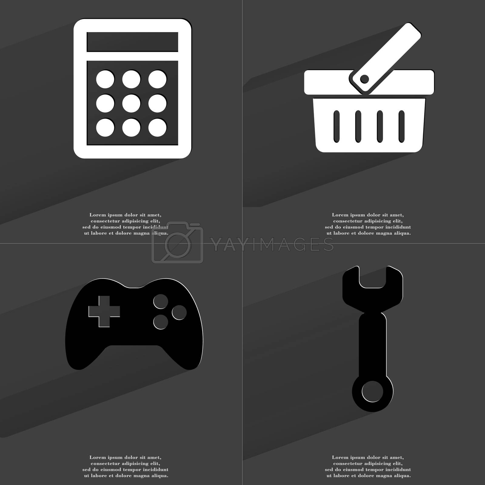 Royalty free image of Calculator, Basket, Gamepad, Wrench. Symbols with long shadow. Flat design by serhii_lohvyniuk