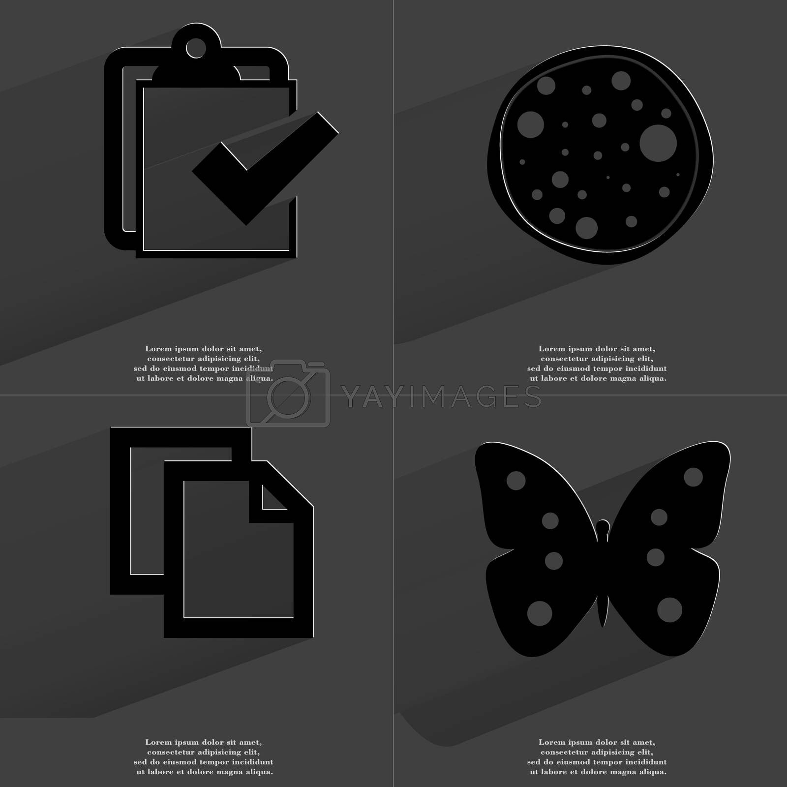 Royalty free image of Task completed, Pizza, Copy icon, Butterfly. Symbols with long shadow. Flat design by serhii_lohvyniuk
