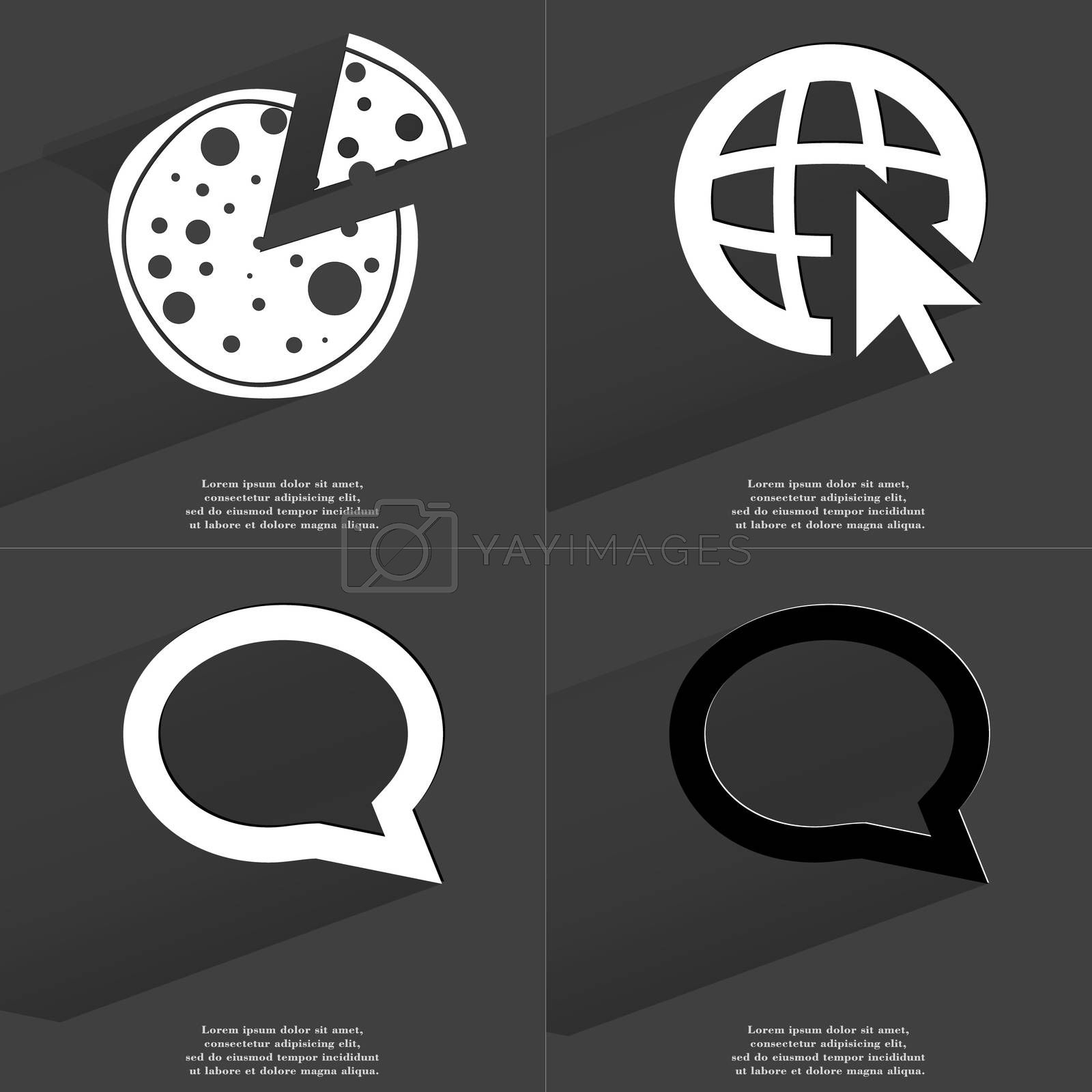 Royalty free image of Pizza, Web icon cursor, Chat bubble. Symbols with long shadow. Flat design by serhii_lohvyniuk