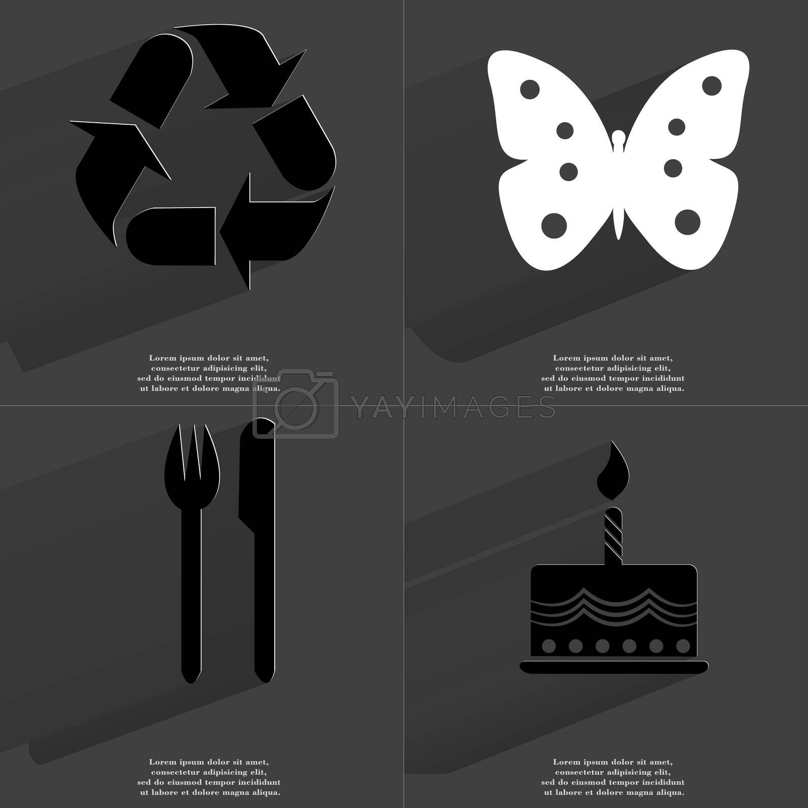 Royalty free image of Recycling icon, Butterfly, Fork and Knife, Cake. Symbols with long shadow. Flat design by serhii_lohvyniuk