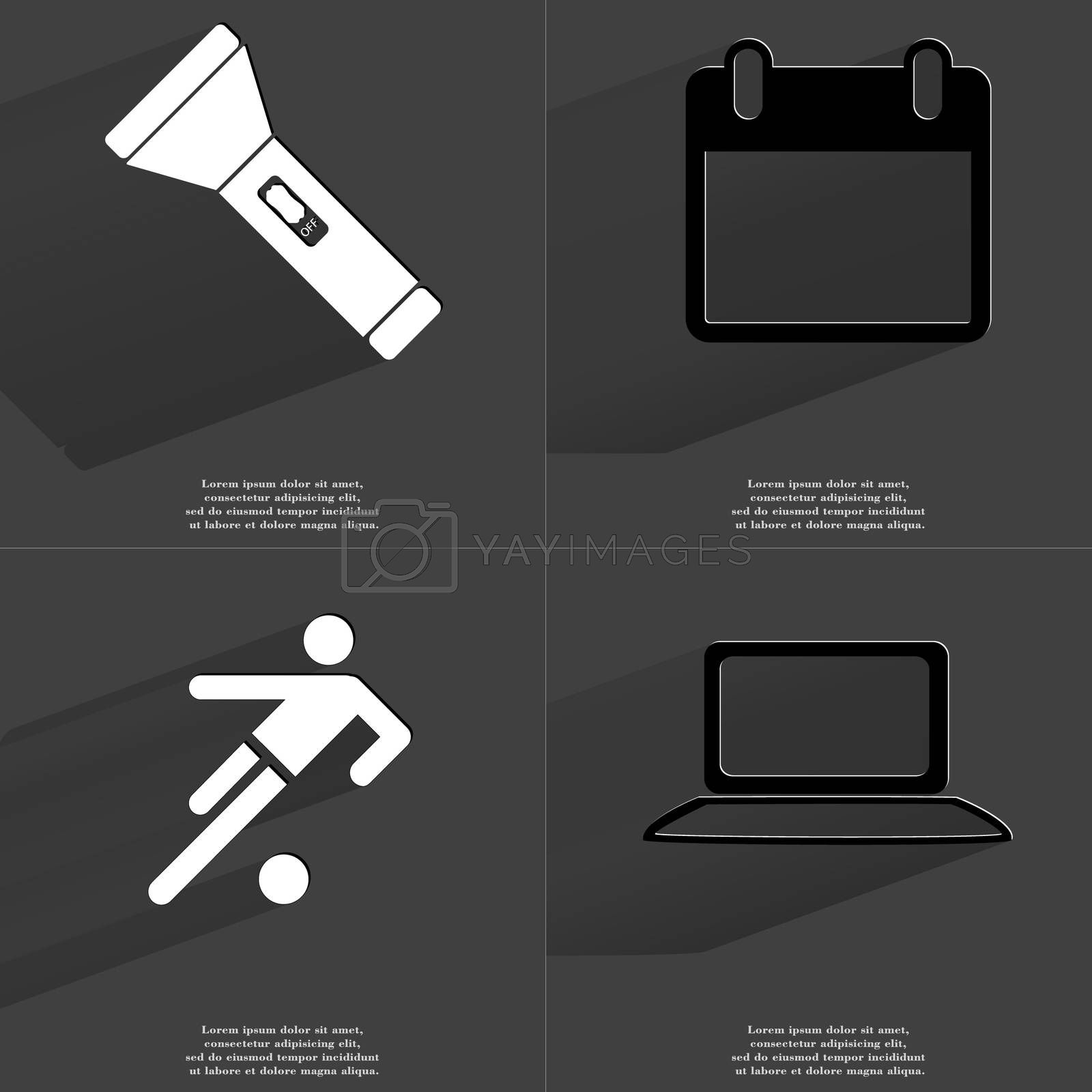 Royalty free image of Flashlight, Calendar, Silhouette of a football player, Laptop. Symbols with long shadow. Flat design by serhii_lohvyniuk