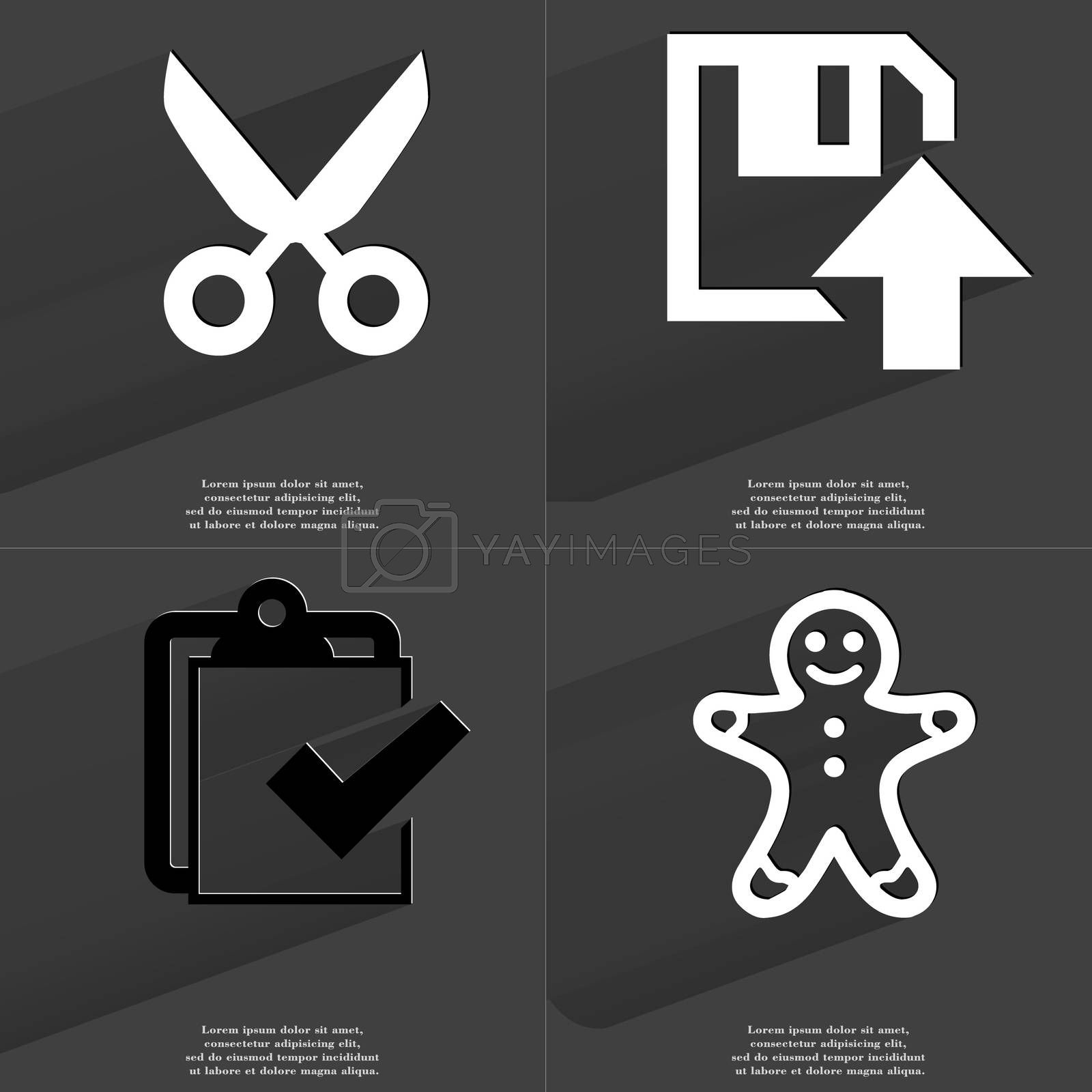 Royalty free image of Scissors, Floppy disk upload, Task completed icon, Gingerbread man. Symbols with long shadow. Flat design by serhii_lohvyniuk