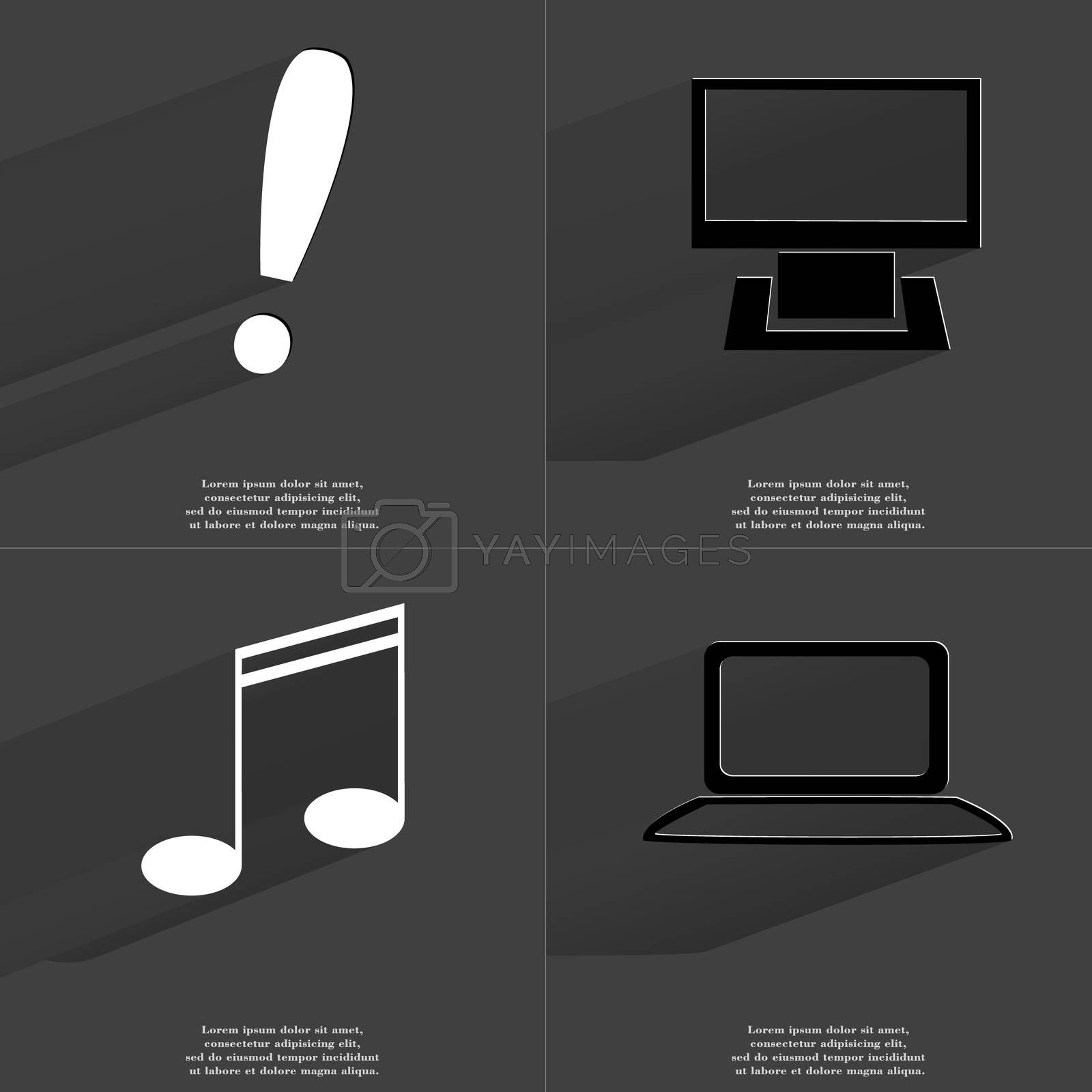 Royalty free image of Exclamation mark, Monitor, Note sing, Notebook. Symbols with long shadow. Flat design by serhii_lohvyniuk