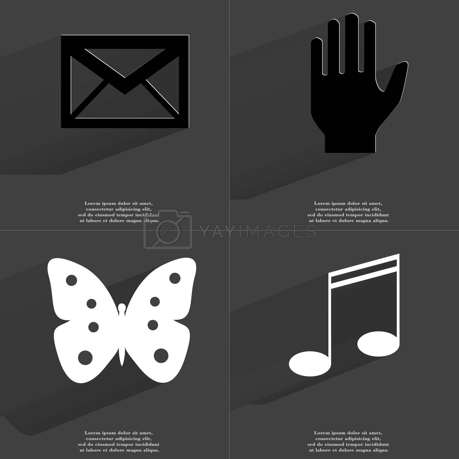 Royalty free image of Message, Hand, Butterfly, Note sign. Symbols with long shadow. Flat design by serhii_lohvyniuk