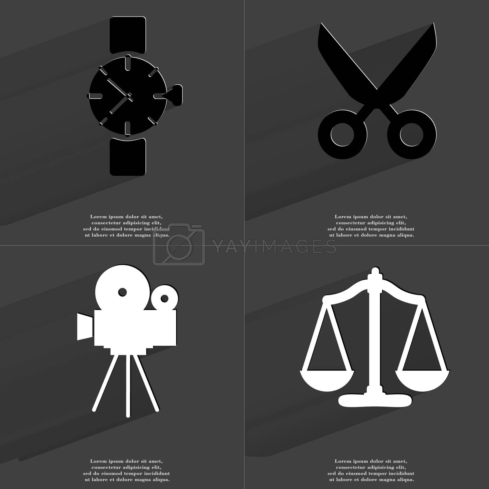 Royalty free image of Wrist watch, Scissors, Film camera, Scales. Symbols with long shadow. Flat design by serhii_lohvyniuk