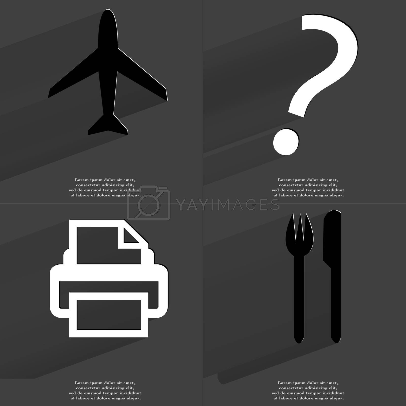 Royalty free image of Airplane, Question mark, Printer, Fork and knife. Symbols with long shadow. Flat design by serhii_lohvyniuk