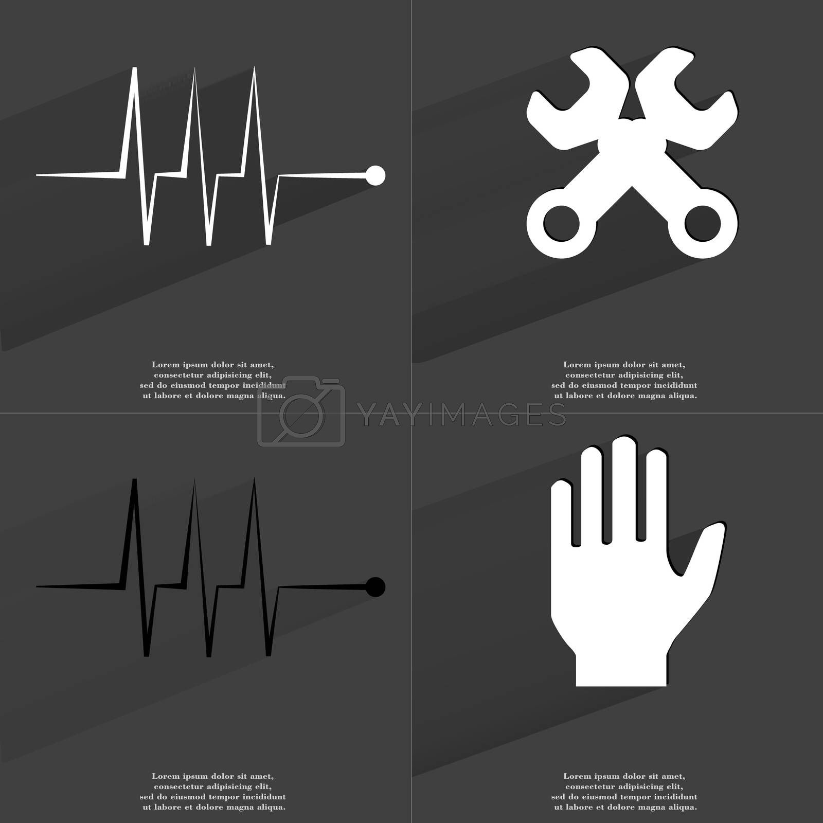 Royalty free image of Pulse, Wrenches, Hand. Symbols with long shadow. Flat design by serhii_lohvyniuk
