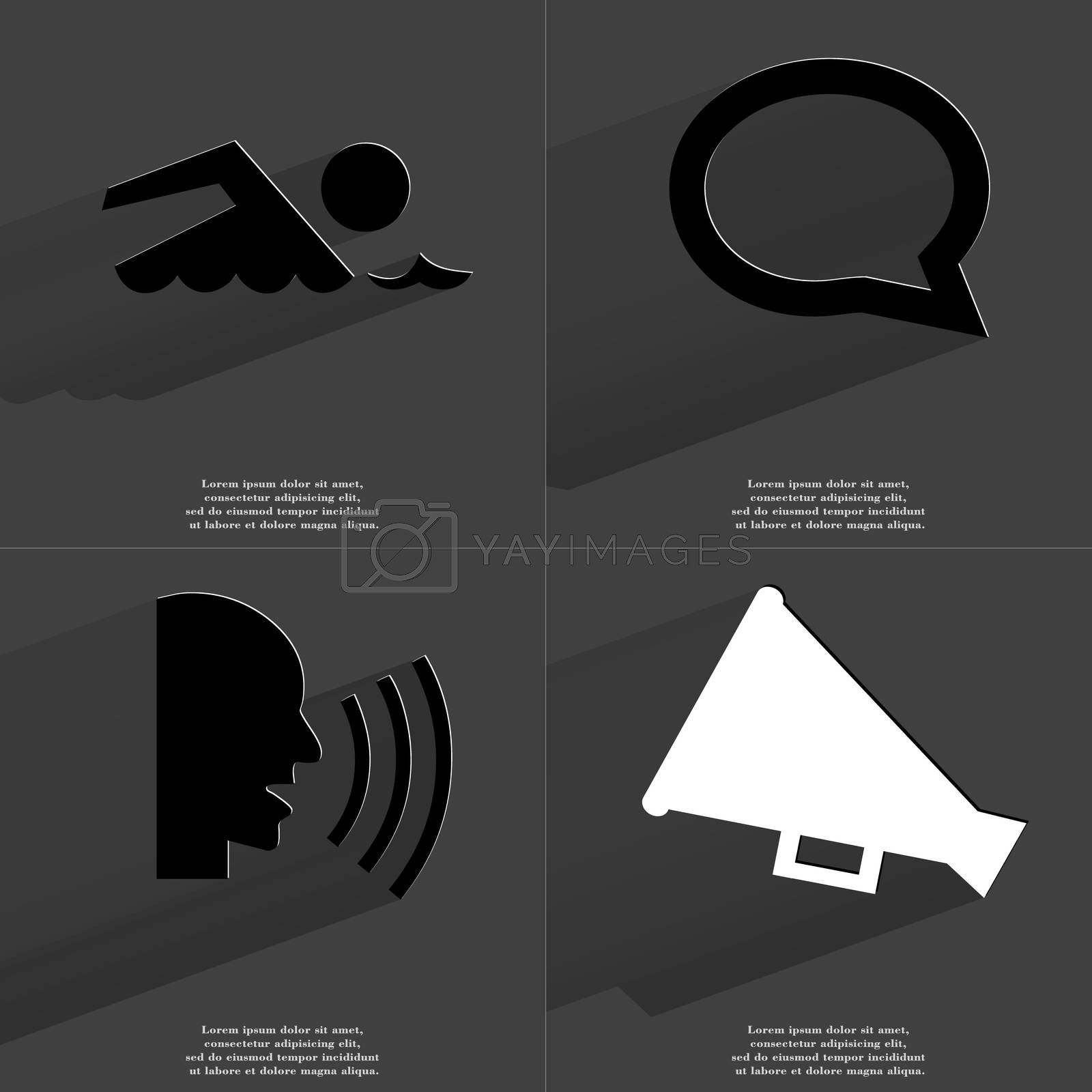 Royalty free image of Silhouette of swimmer, Chat bubble, Talk, Megaphone. Symbols with long shadow. Flat design by serhii_lohvyniuk