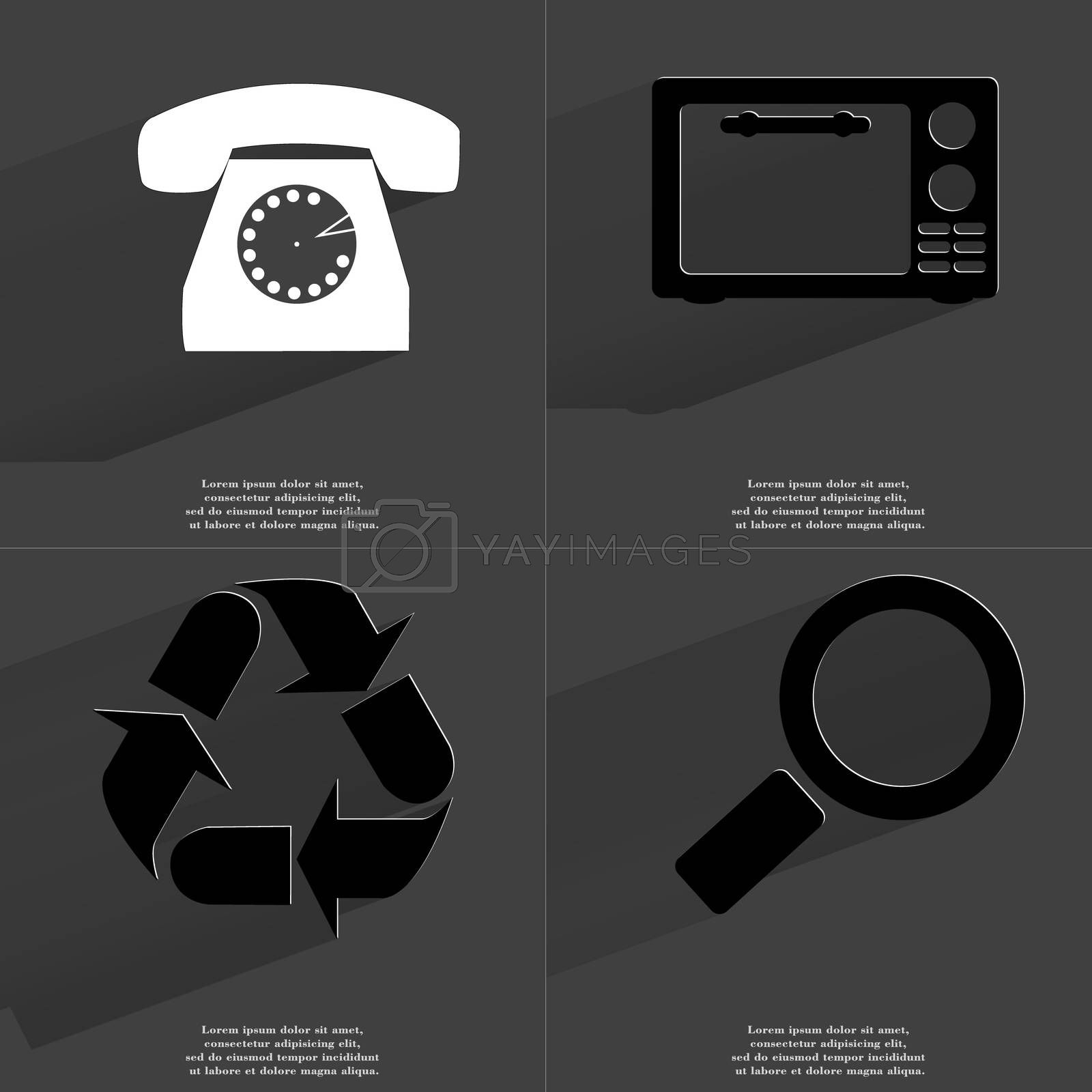 Royalty free image of Retro phone, Microwave, Recycling, Magnifying glass. Symbols with long shadow. Flat design by serhii_lohvyniuk