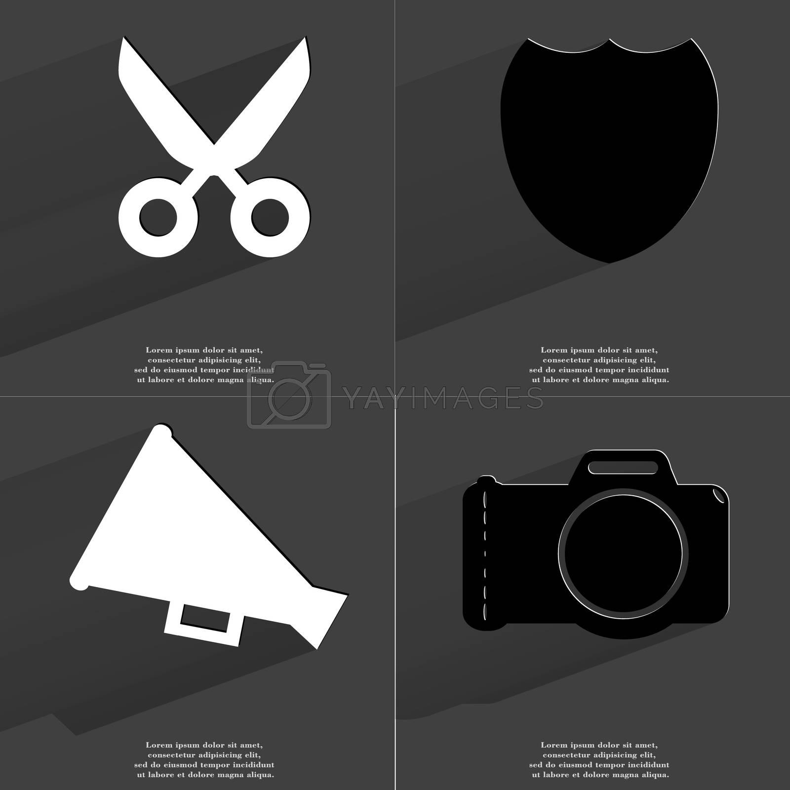 Royalty free image of Scissors, Badge, Megaphone, Camera. Symbols with long shadow. Flat design by serhii_lohvyniuk