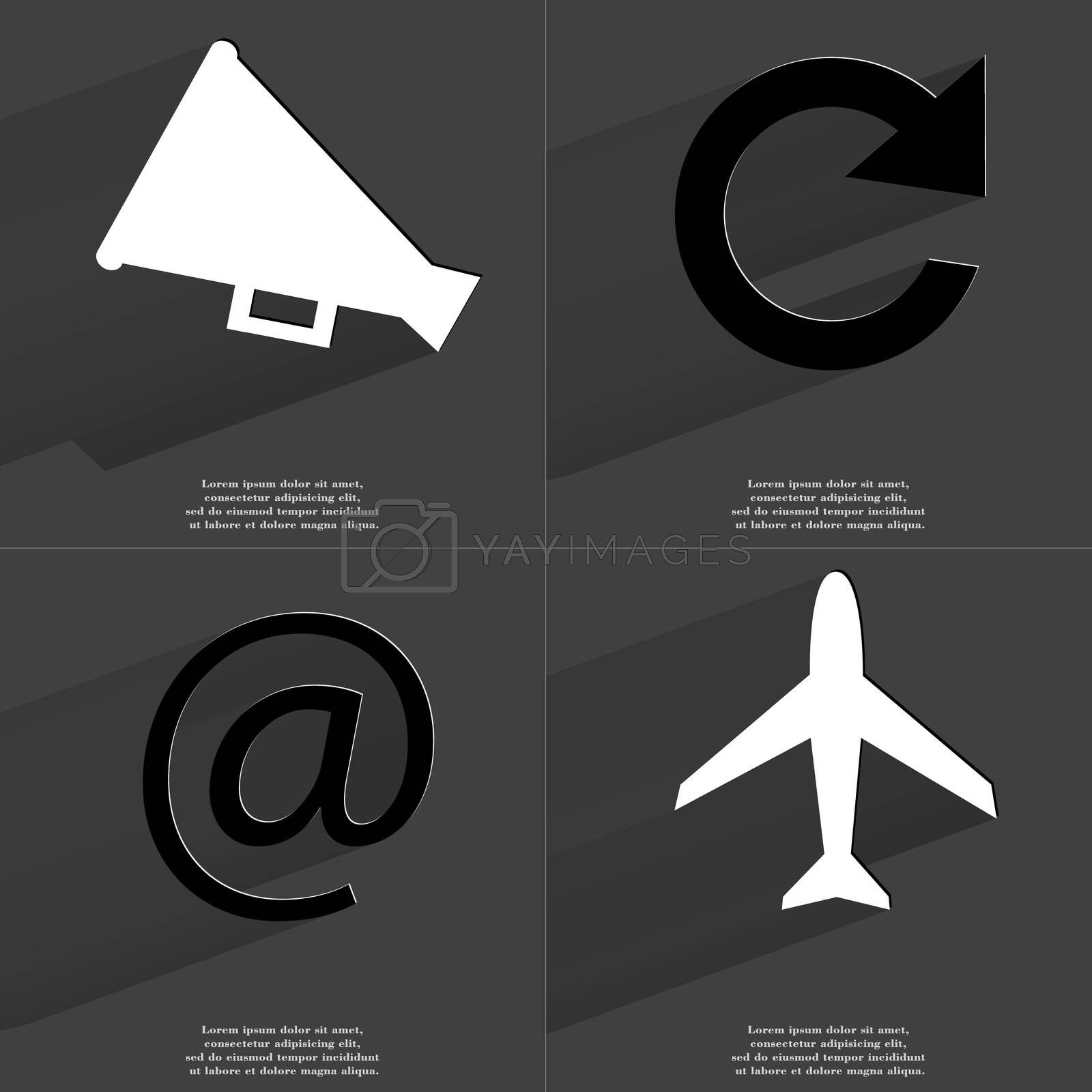 Royalty free image of Megaphone, Reload icon, At sign, Airplane. Symbols with long shadow. Flat design by serhii_lohvyniuk