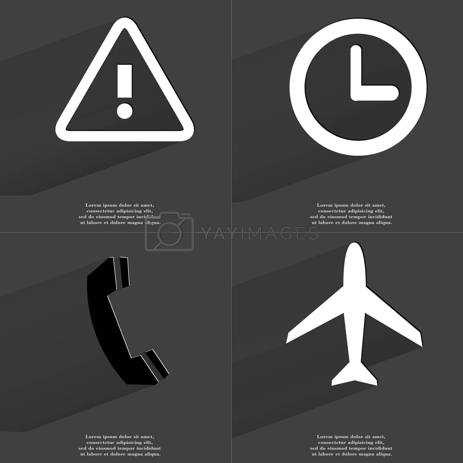 Royalty free image of Warning sign, Clock, Receiver, Airplane. Symbols with long shadow. Flat design by serhii_lohvyniuk