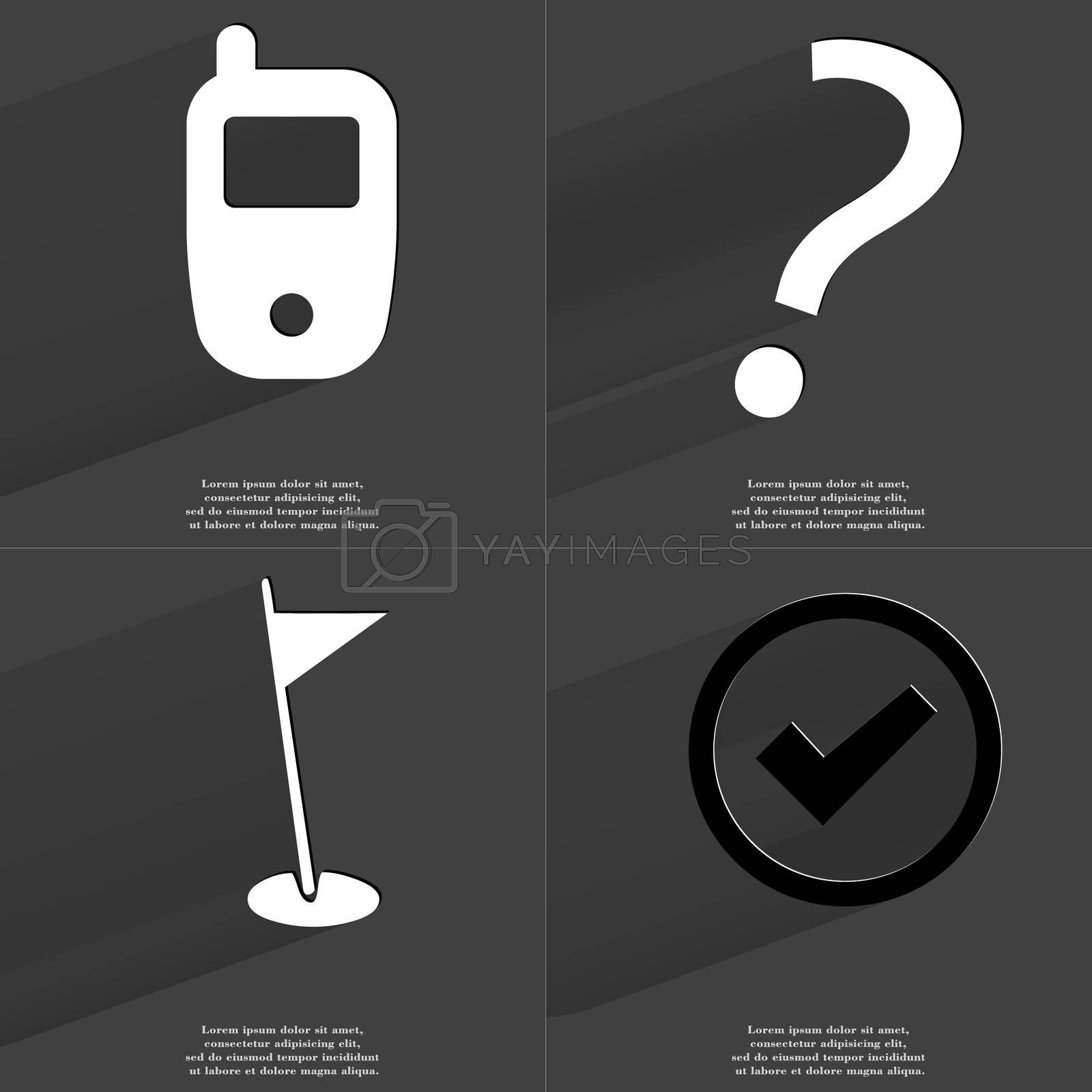 Mobile phone, Question mark, Golf hole, Tick sign. Symbols with long shadow. Flat design by serhii_lohvyniuk