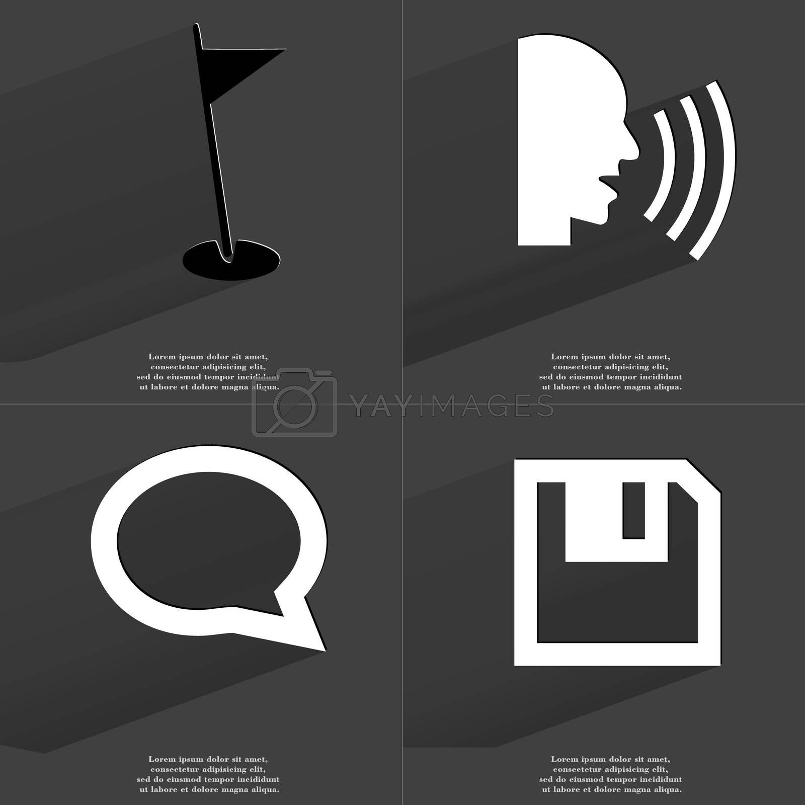 Royalty free image of Golf hole, Talk, Chat bubble, Floppy disk. Symbols with long shadow. Flat design by serhii_lohvyniuk