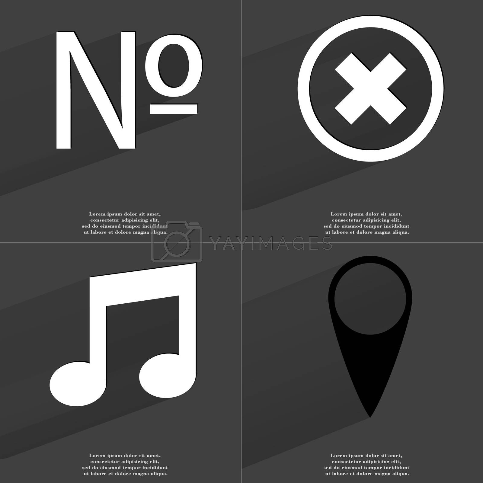 Royalty free image of Number, Stop sign, Note, Checkpoint. Symbols with long shadow. Flat design by serhii_lohvyniuk