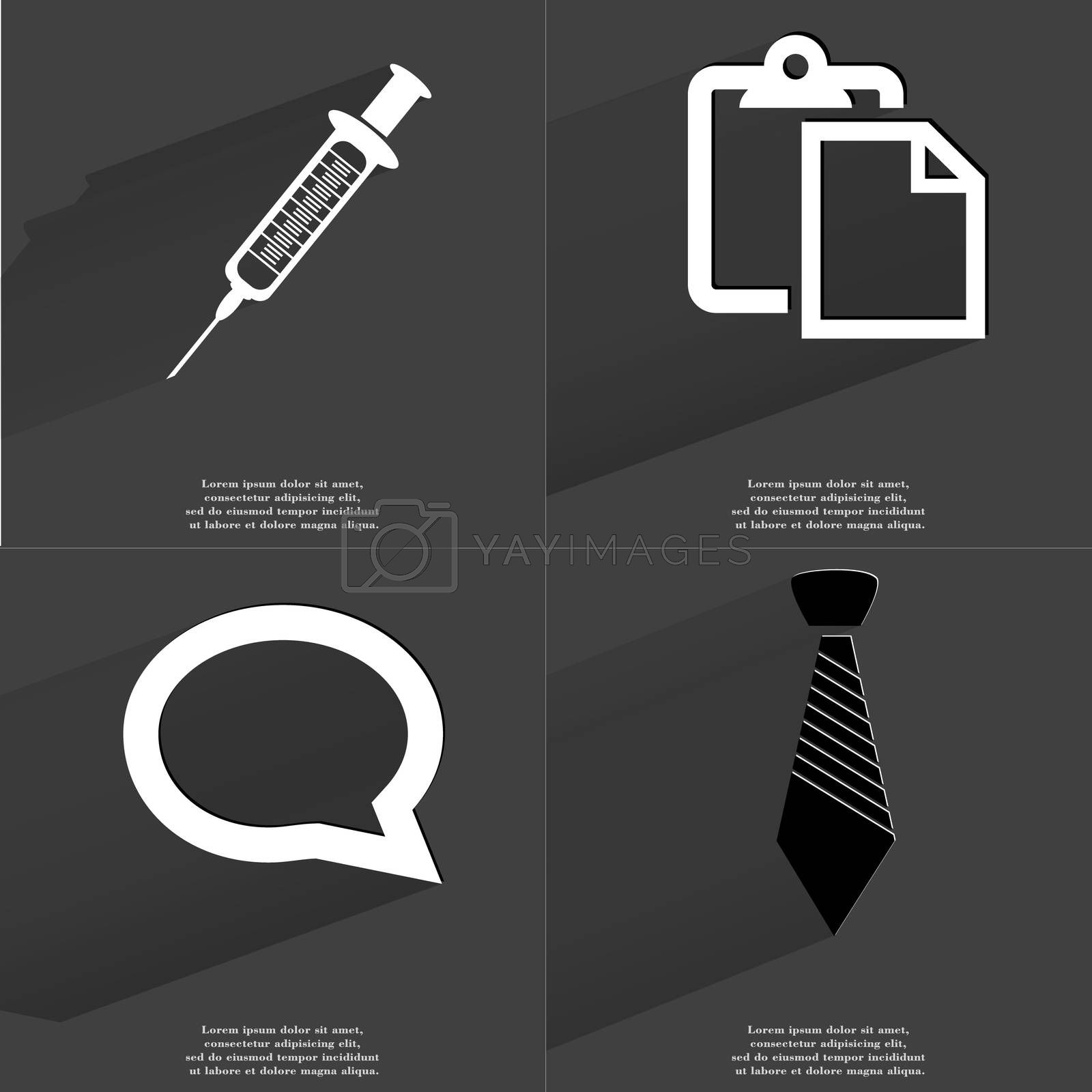 Syringe, Tasklist icon, Chat bubble, Tie. Symbols with long shadow. Flat design by serhii_lohvyniuk