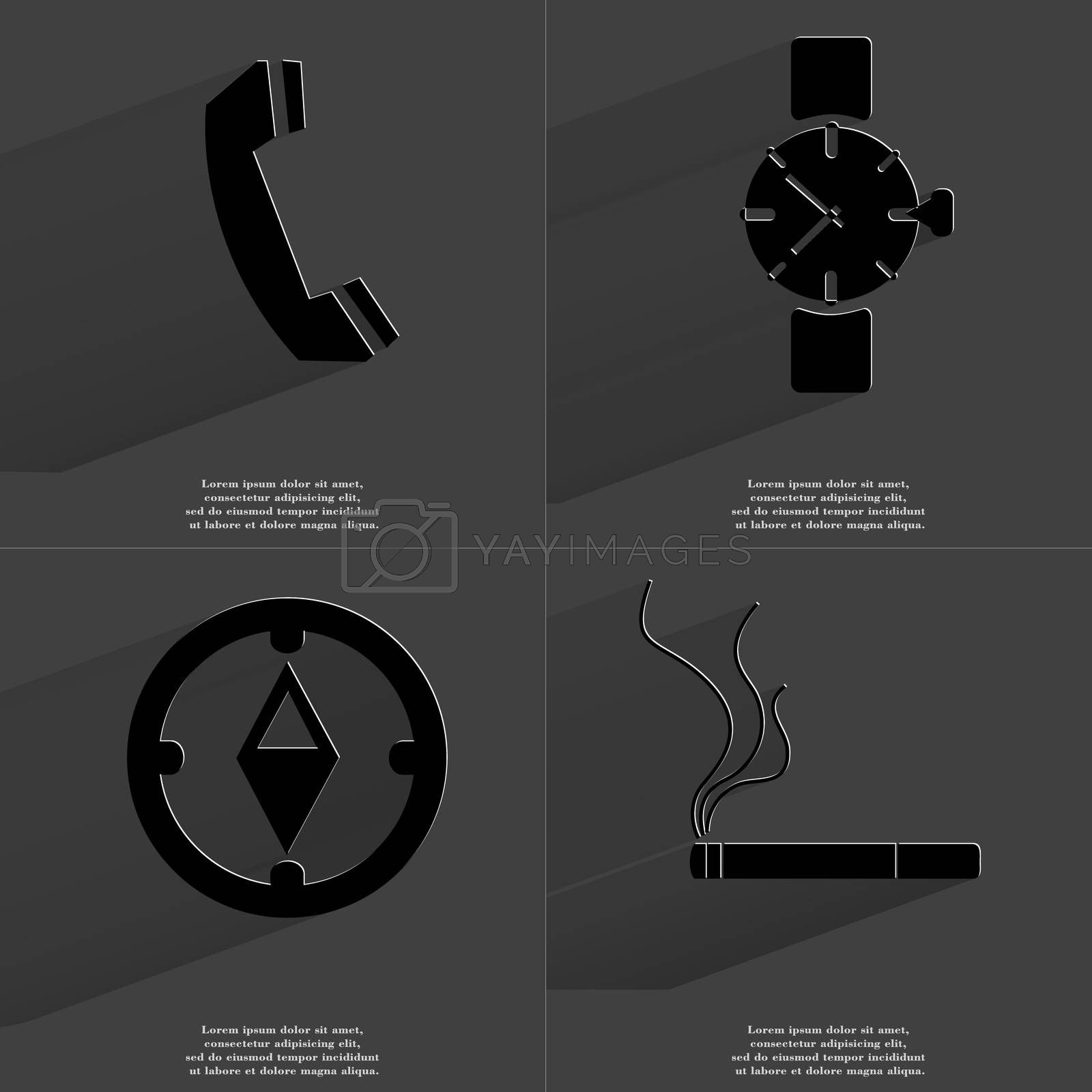 Royalty free image of Receiver, Wrist watch, Compass, Cigarette. Symbols with long shadow. Flat design by serhii_lohvyniuk