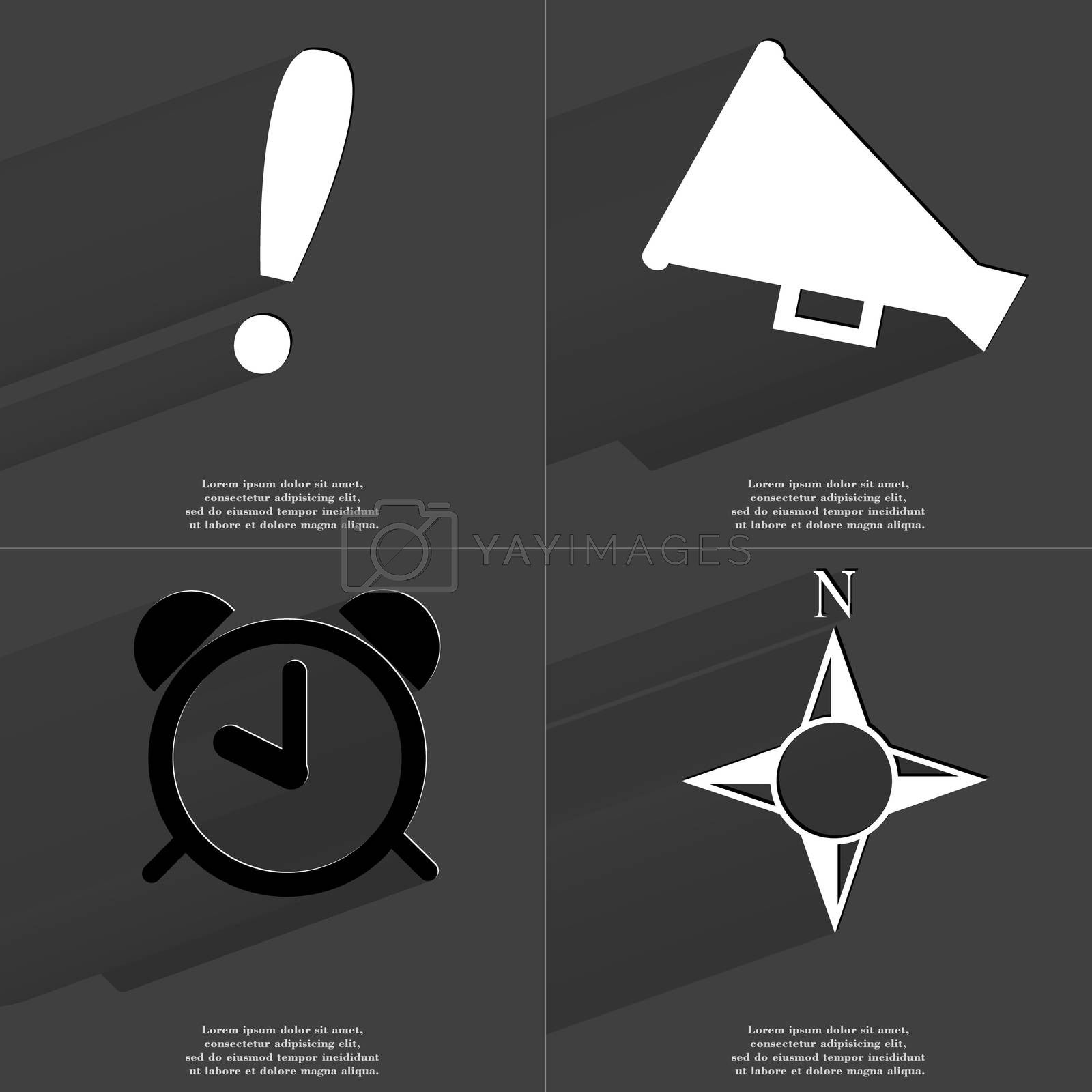 Royalty free image of Exclamation mark, Megaphone, Alarm clock, Compass. Symbols with long shadow. Flat design by serhii_lohvyniuk