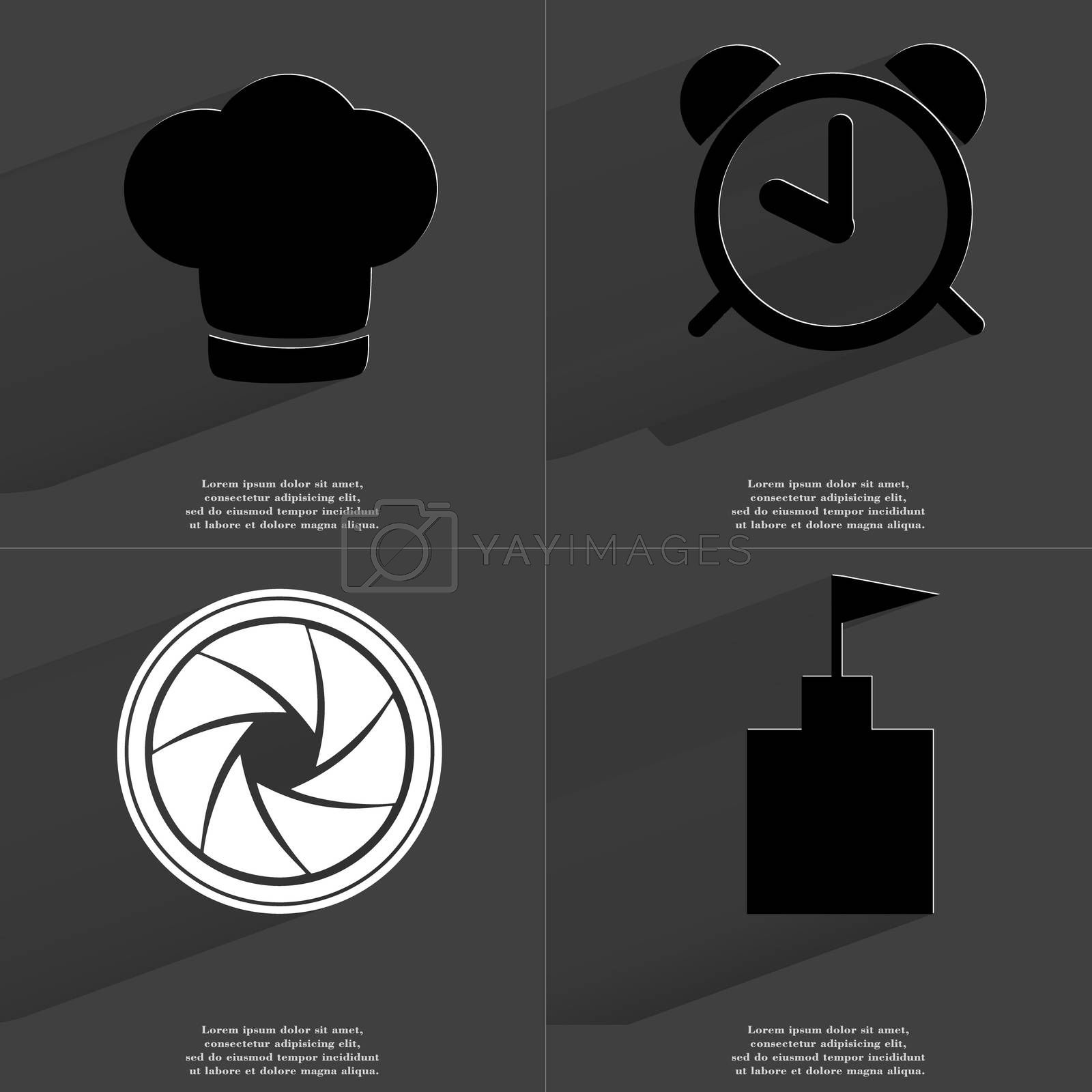 Royalty free image of Cooking hat, Alarm clock, Lens, Flag tower. Symbols with long shadow. Flat design by serhii_lohvyniuk