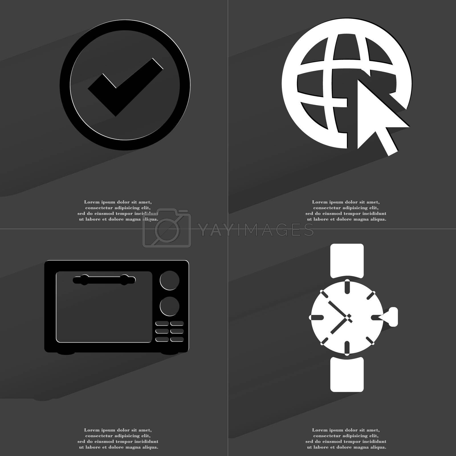Royalty free image of Tick sign, Web icon cursor, Microwave, Clock. Symbols with long shadow. Flat design by serhii_lohvyniuk