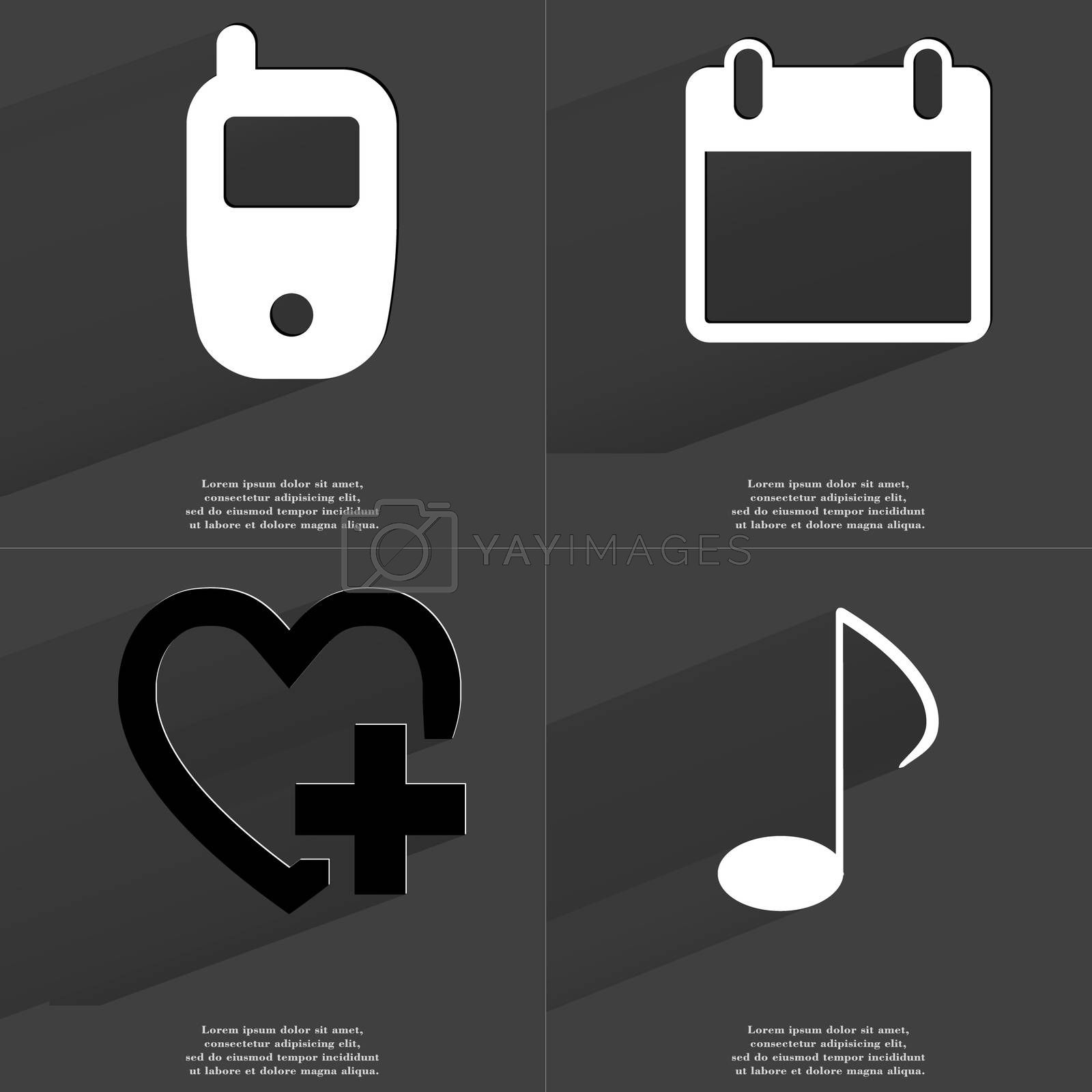 Royalty free image of Mobile phone, Calendar, Heart plus, Note sign. Symbols with long shadow. Flat design by serhii_lohvyniuk