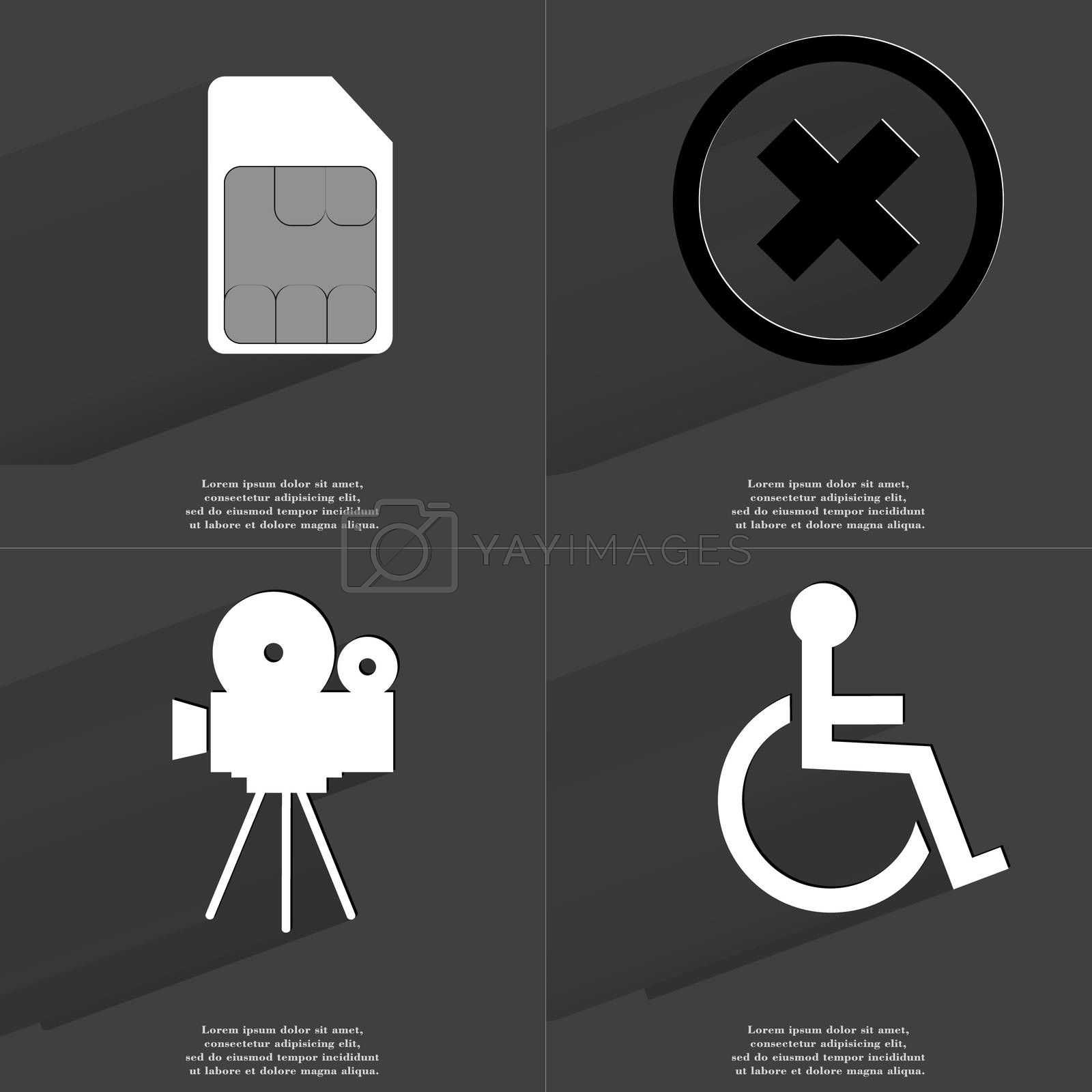 Royalty free image of SIM card, Stop sign, Film camera, Disabled person. Symbols with long shadow. Flat design by serhii_lohvyniuk