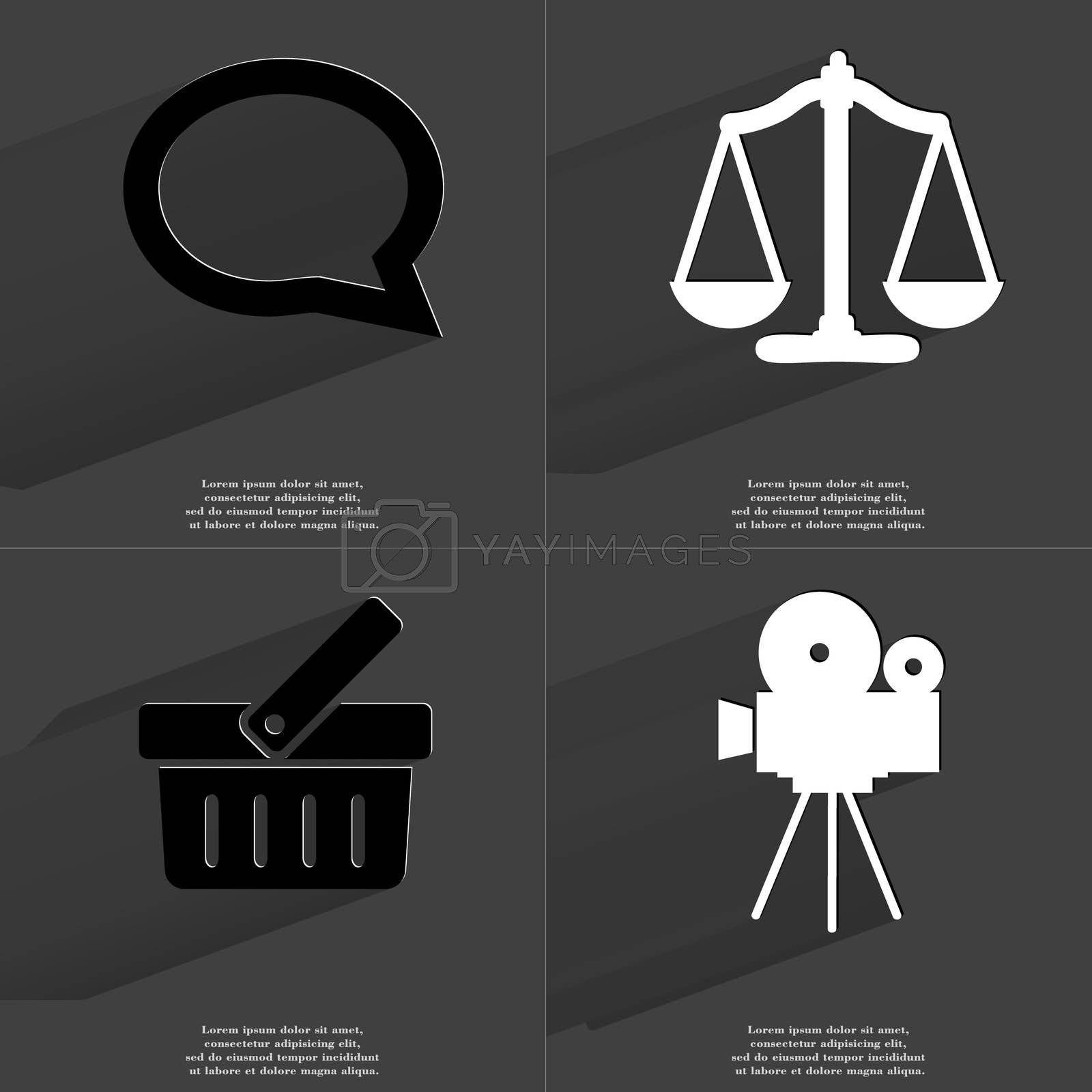Royalty free image of Chat bubble, Scales, Basket, Film camera. Symbols with long shadow. Flat design by serhii_lohvyniuk