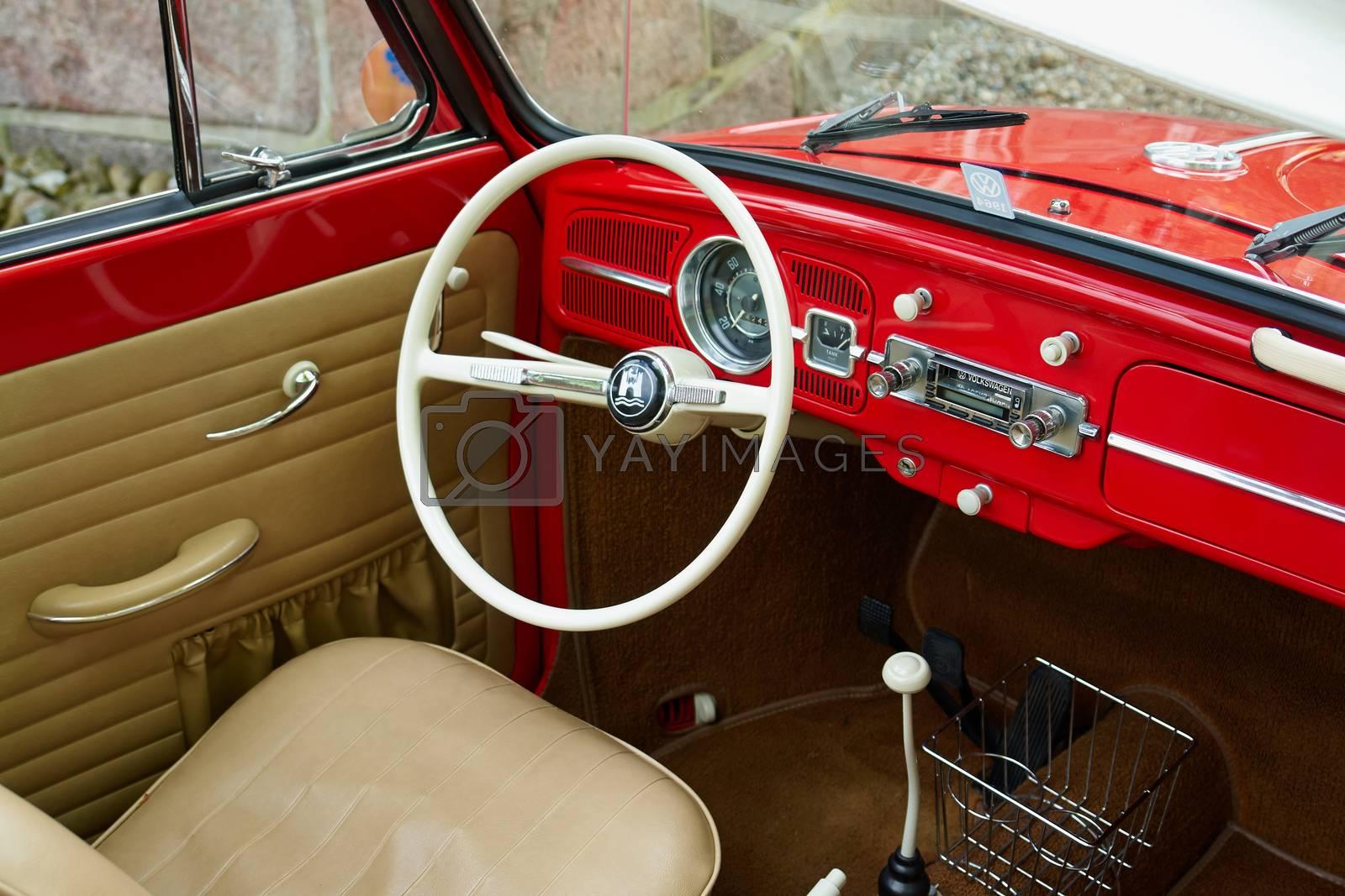 Royalty free image of Inside German motor car Volkswagen Beetle by Ronyzmbow